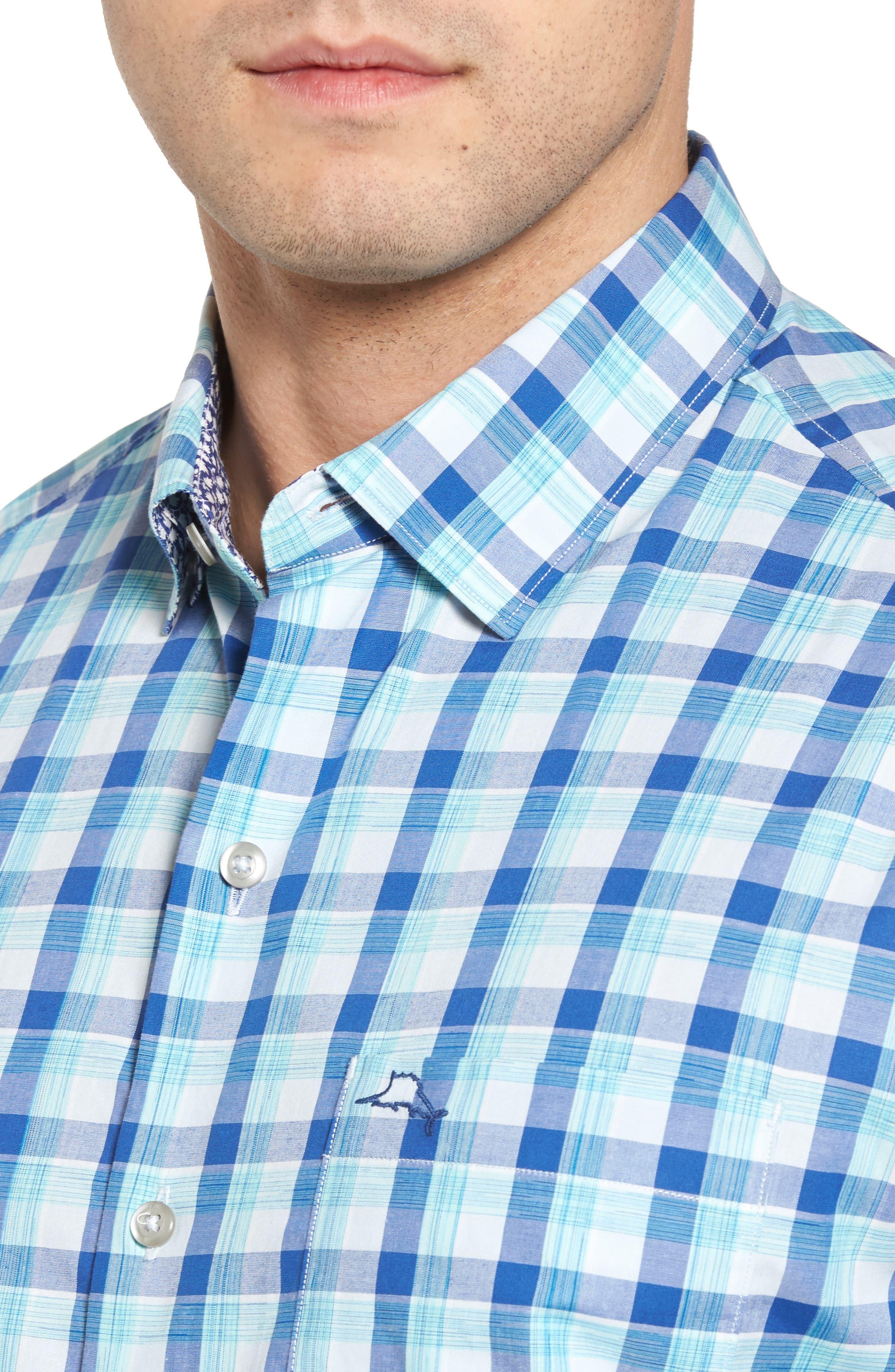 Atlantic Tides Regular Fit Plaid Sport Shirt,                             Alternate thumbnail 4, color,                             Galaxy Blue