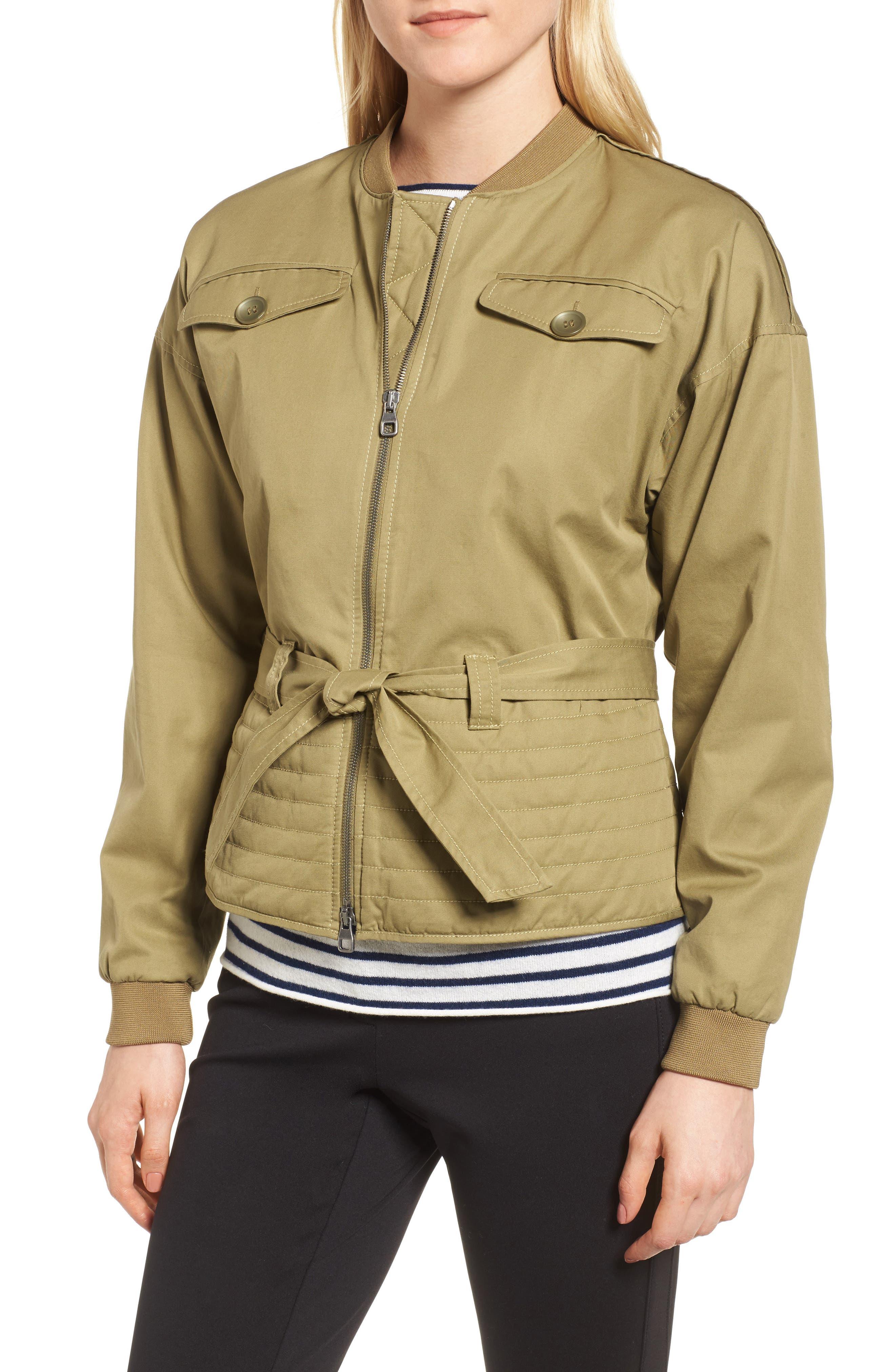 Belted Utility Bomber Jacket,                         Main,                         color, Olive Brine