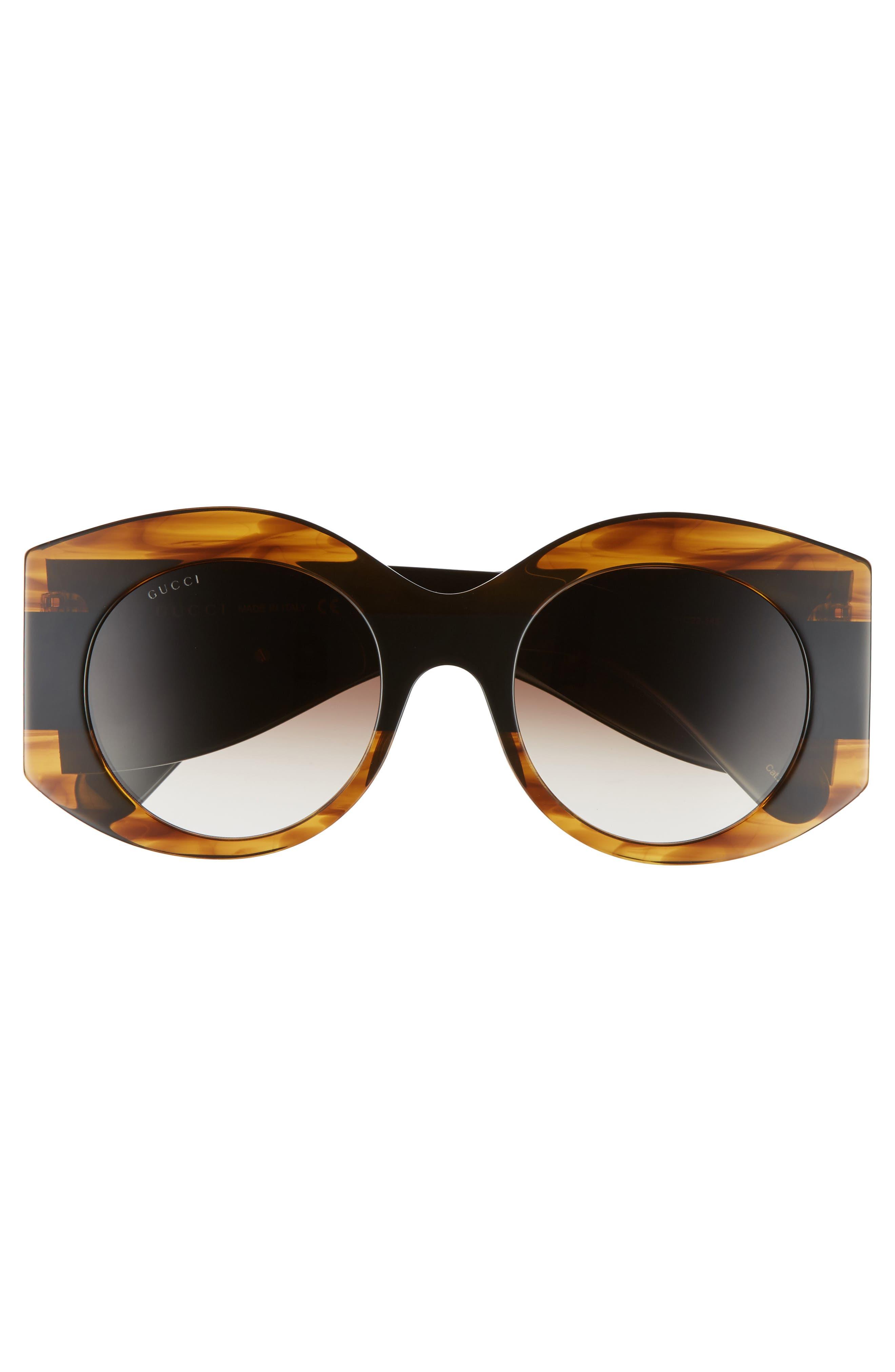 51mm Transparent Stripe Sunglasses,                             Alternate thumbnail 3, color,                             Havana