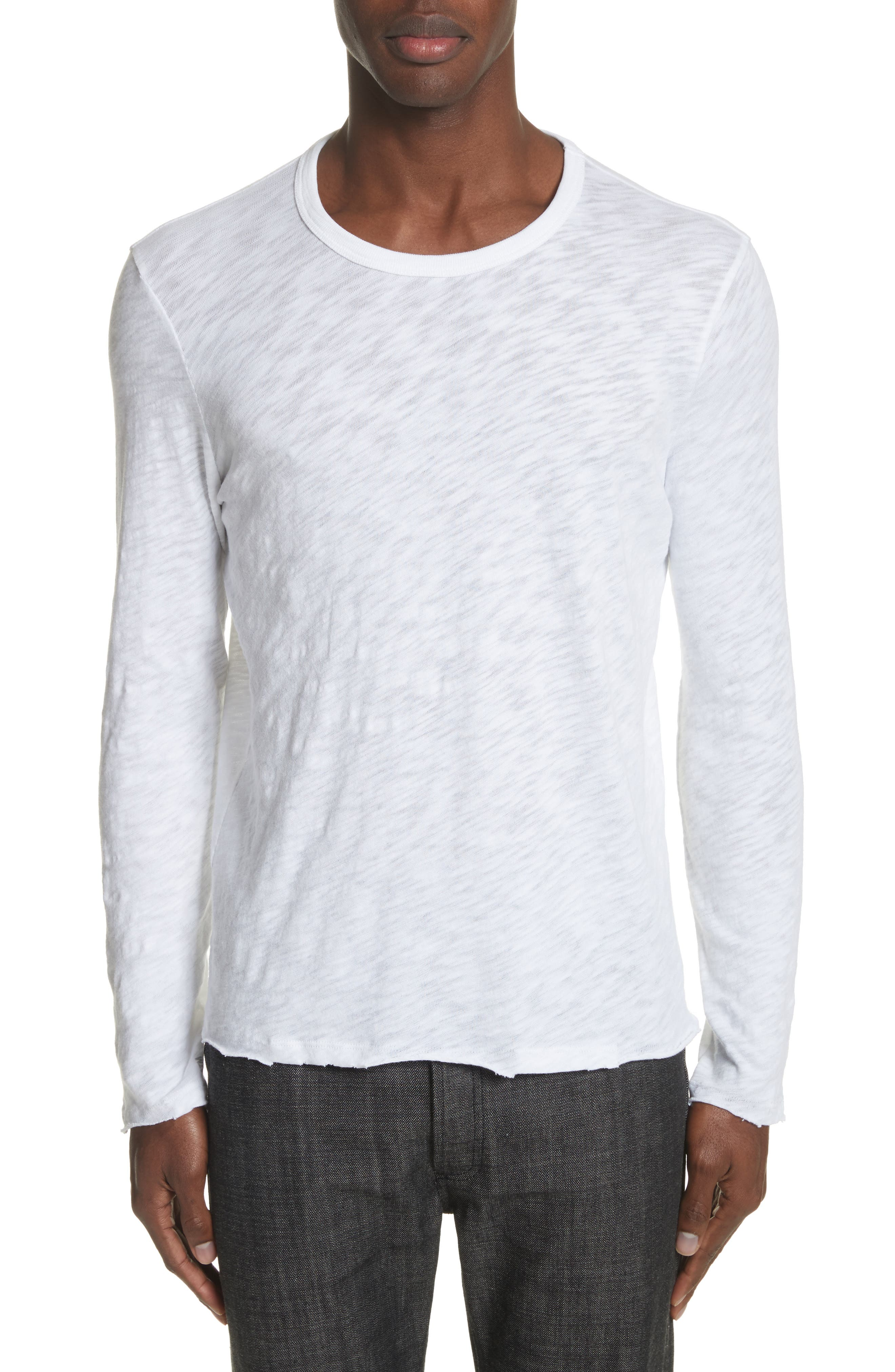 Destroyed Long Sleeve T-Shirt,                         Main,                         color, White