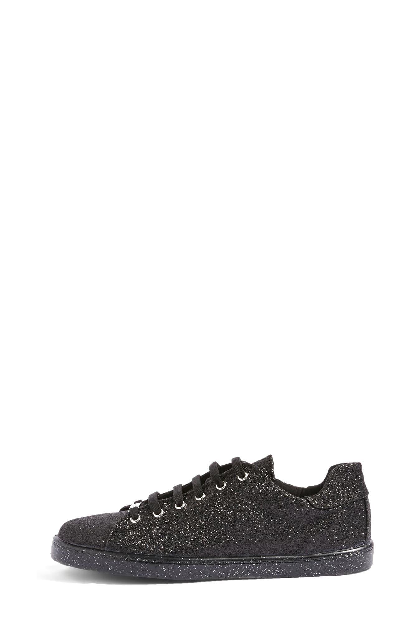 Champagne Glitter Sneaker,                             Alternate thumbnail 2, color,                             Black