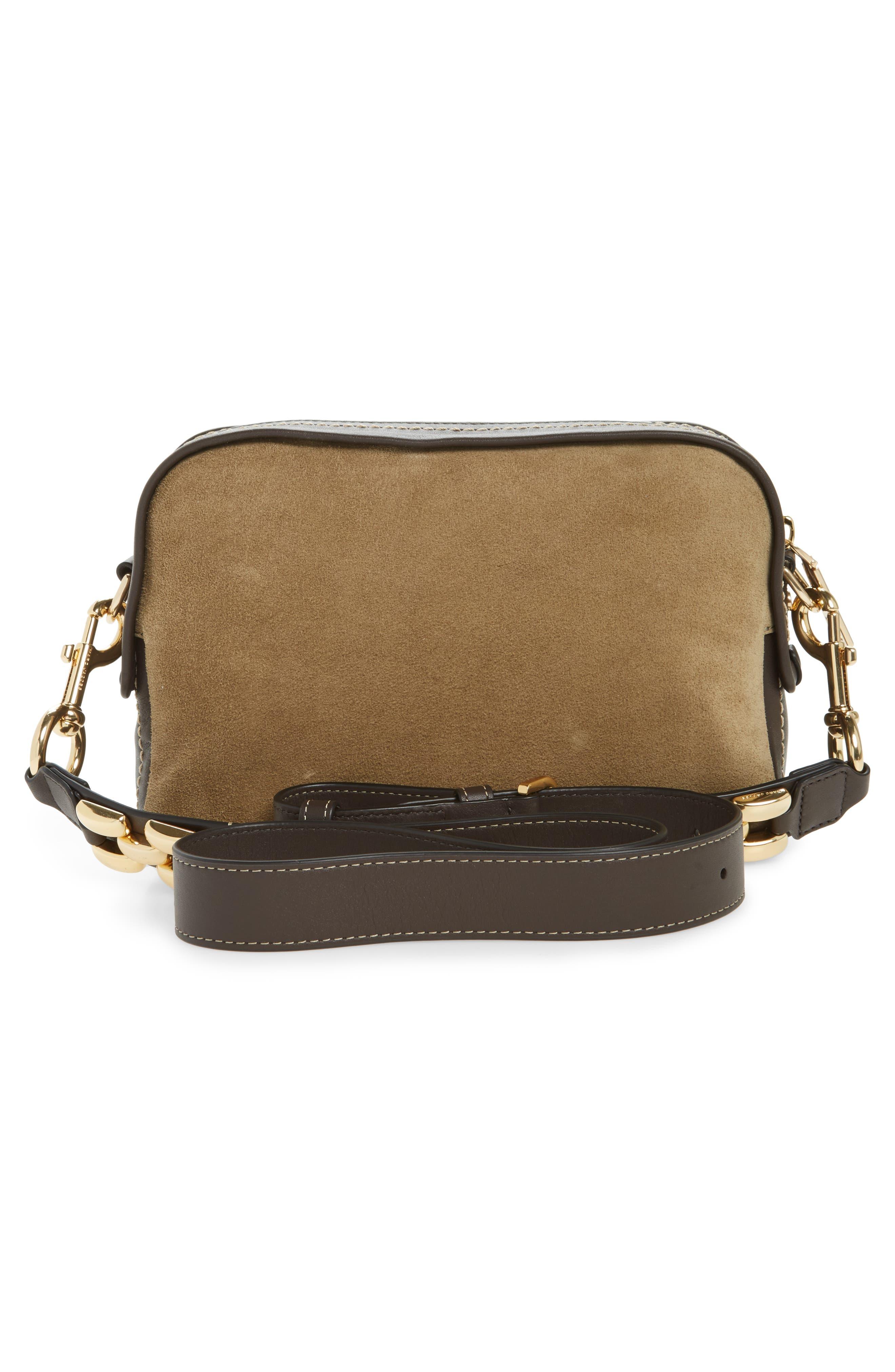 The Squeeze Suede & Leather Shoulder Bag,                             Alternate thumbnail 3, color,                             Pyrite
