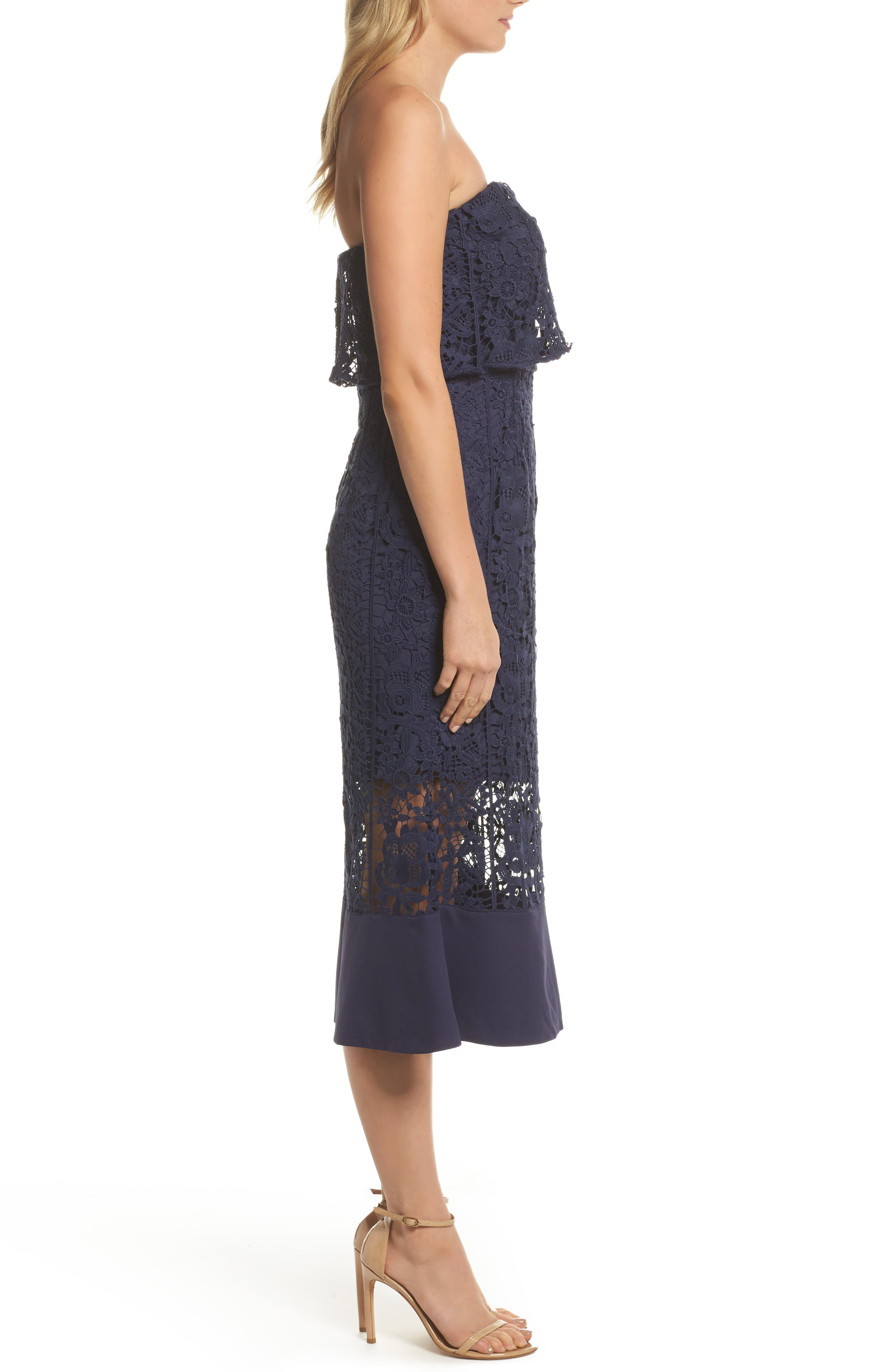 Xenia Strapless Lace Midi Dress,                             Alternate thumbnail 3, color,                             Navy