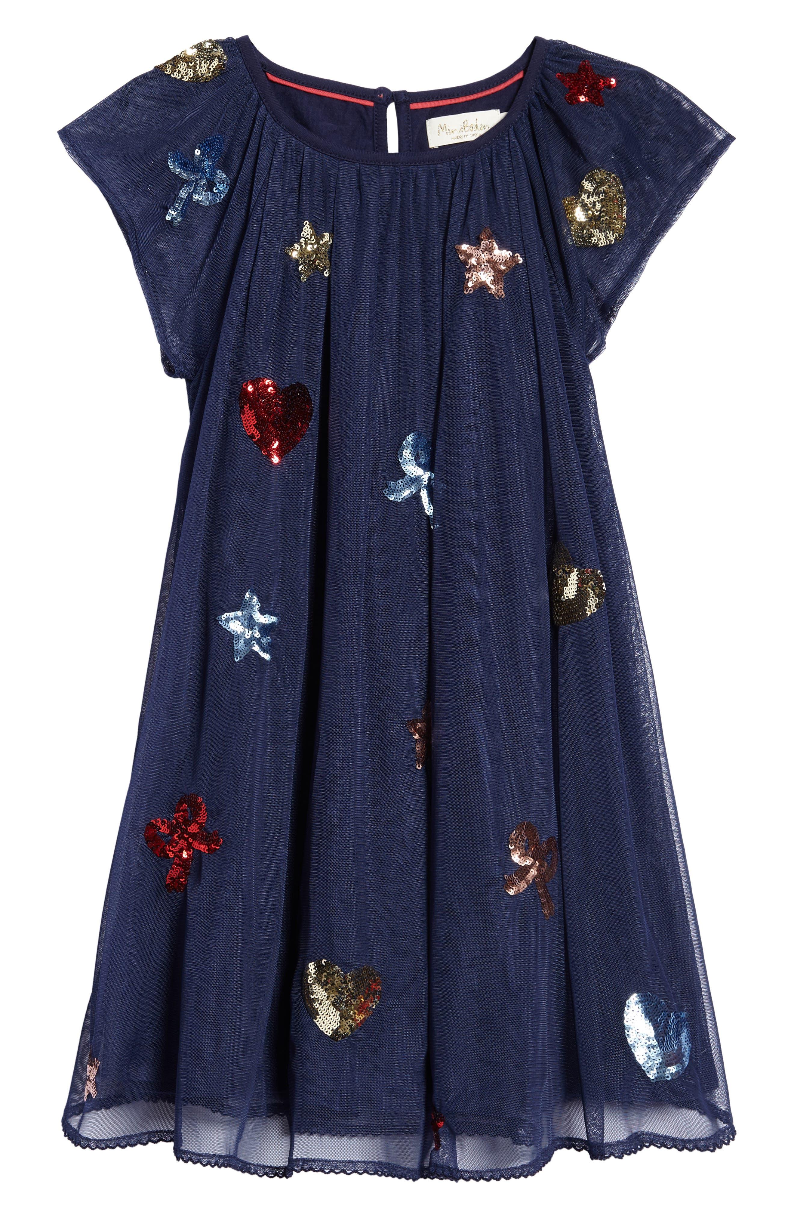 Mini Boden Sequin Patches Tulle Dress (Toddler Girls, Little Girls & Big Girls)