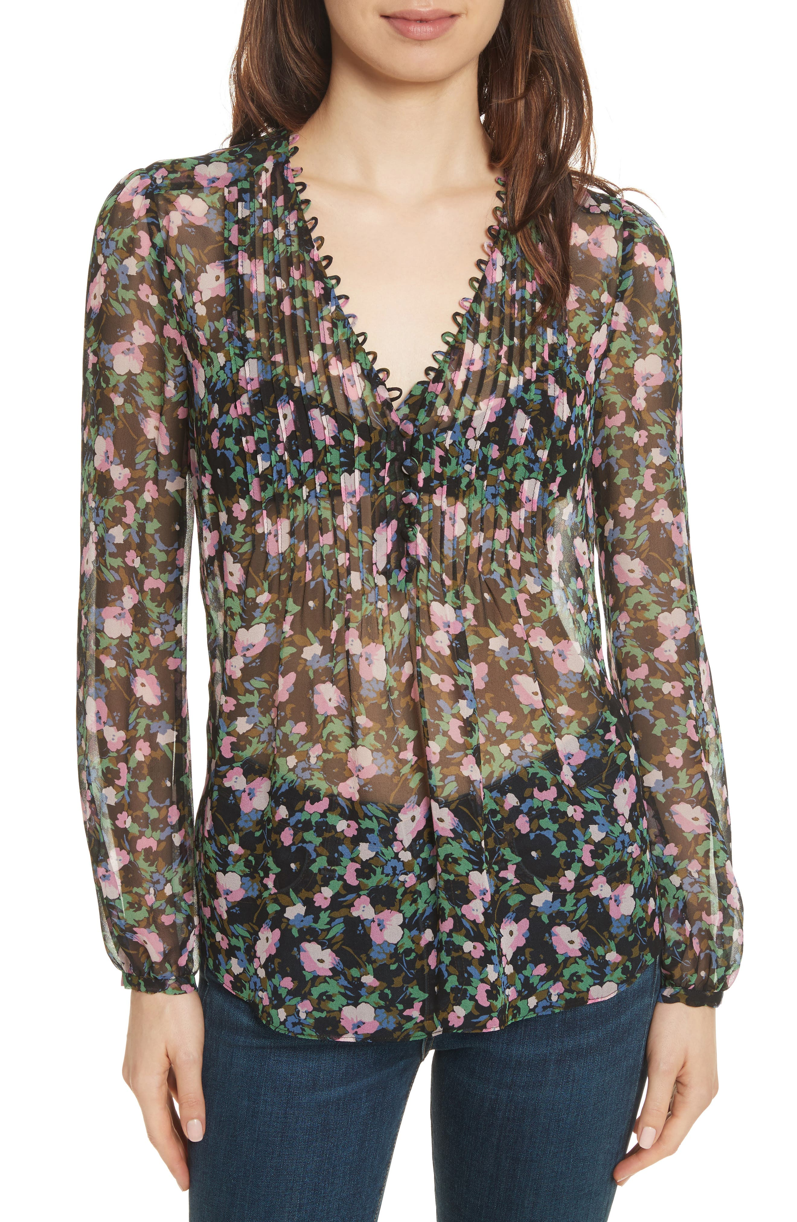 Lowell Floral Silk Blouse,                             Main thumbnail 1, color,                             Navy/ Green/ Pink