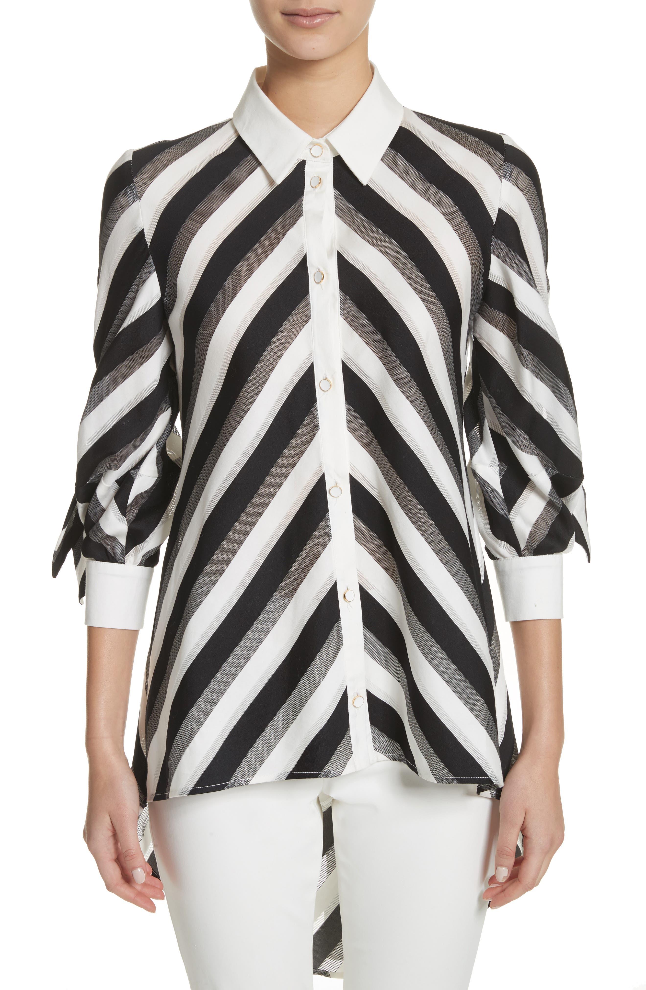 Lela Rose Stripe Bow Sleeve Shirt