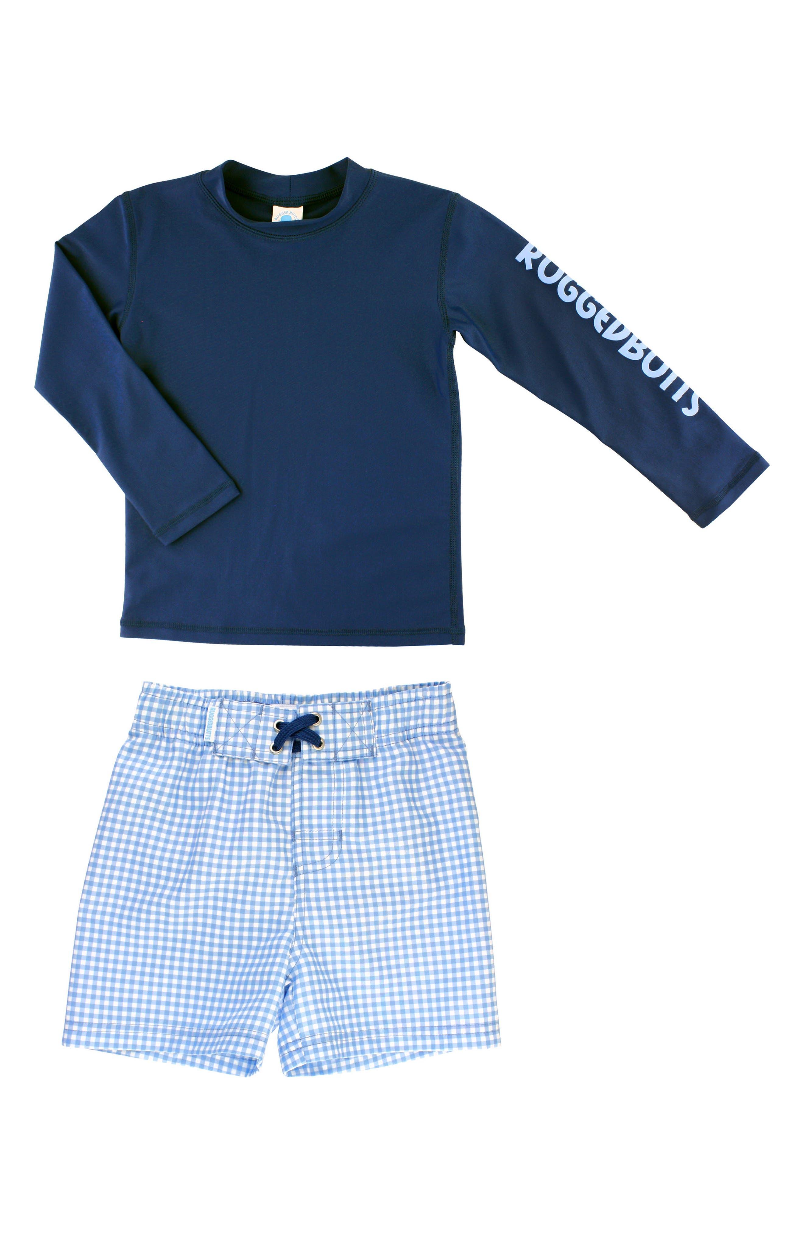 Alternate Image 3  - RuggedButts Long Sleeve Rashguard & Gingham Board Shorts Set (Toddler Boys & Little Boys)