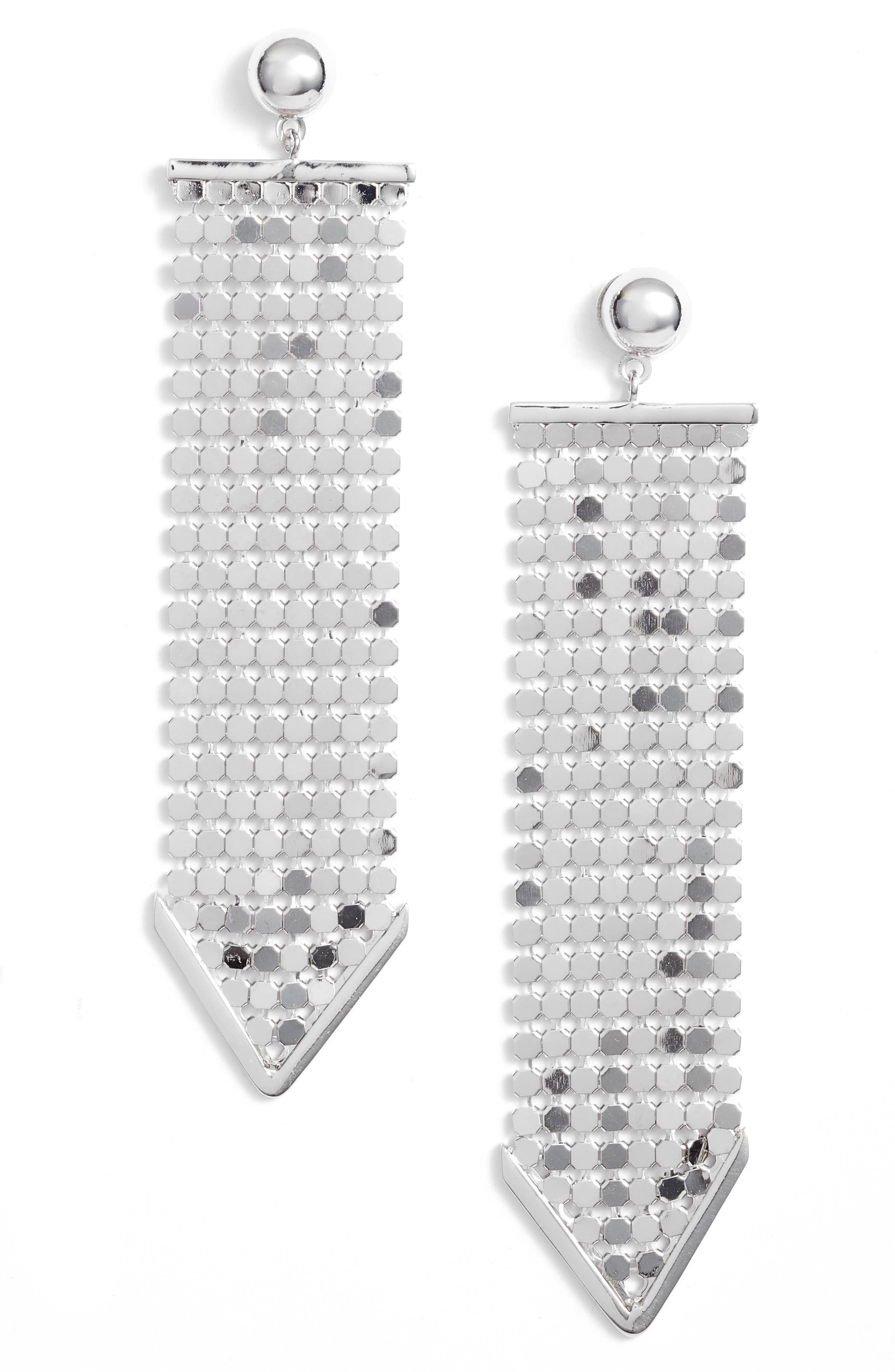 Mesh Earrings,                         Main,                         color, Silver