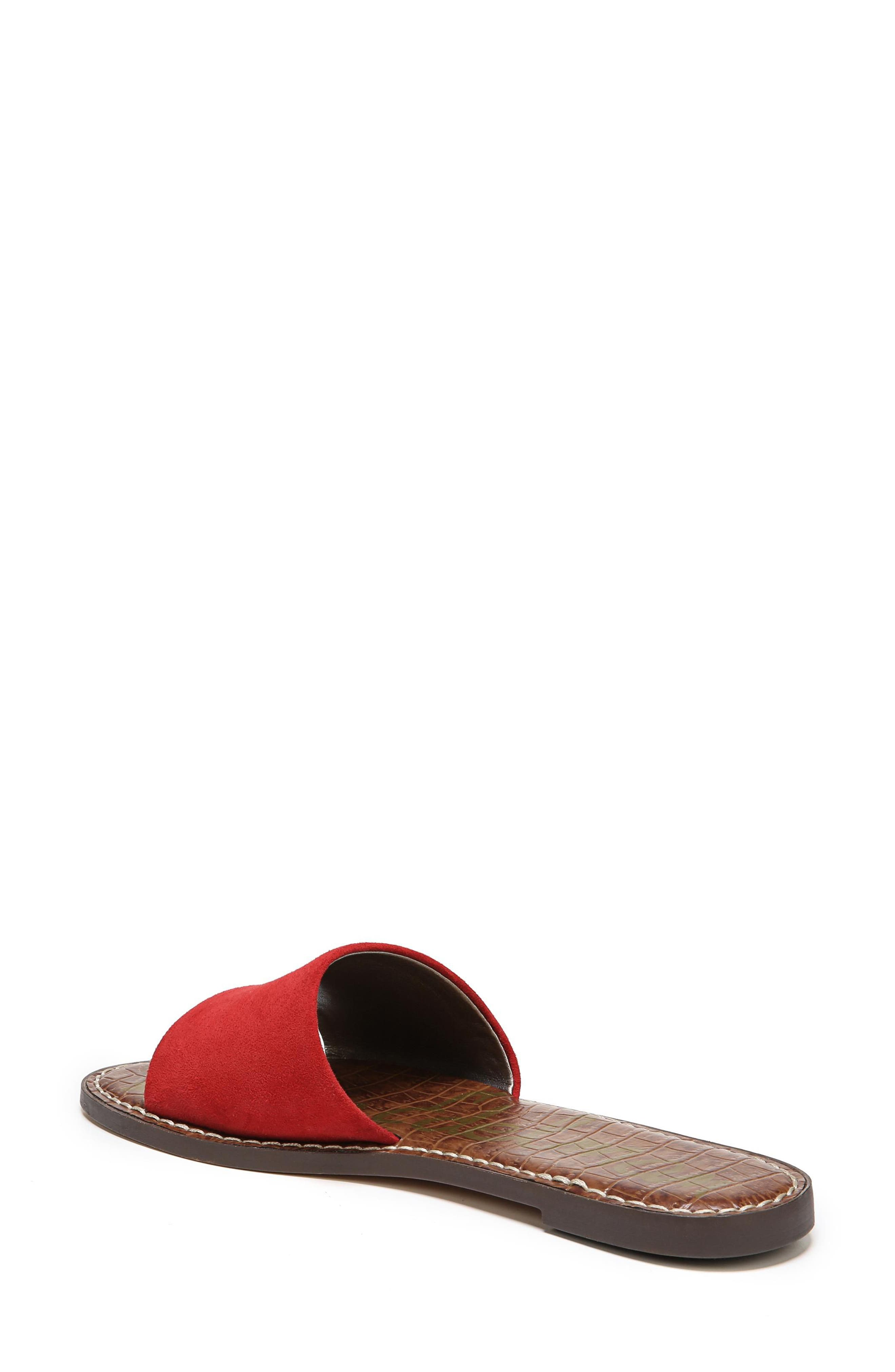 Gio Slide Sandal,                             Alternate thumbnail 2, color,                             Red Suede