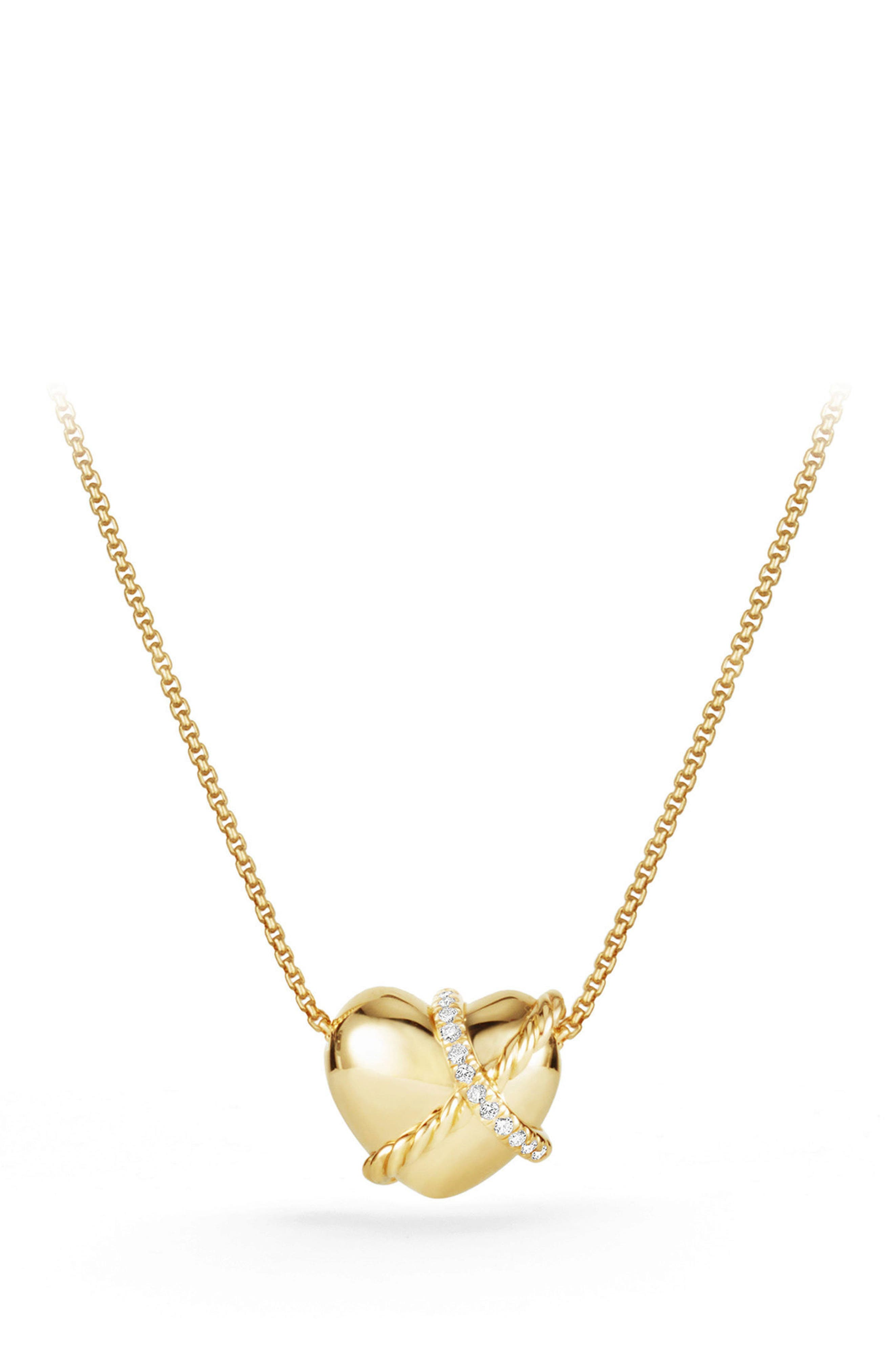 Heart Pendant Necklace in 18K Gold with Diamonds,                             Main thumbnail 1, color,                             Yellow Gold/ Diamond