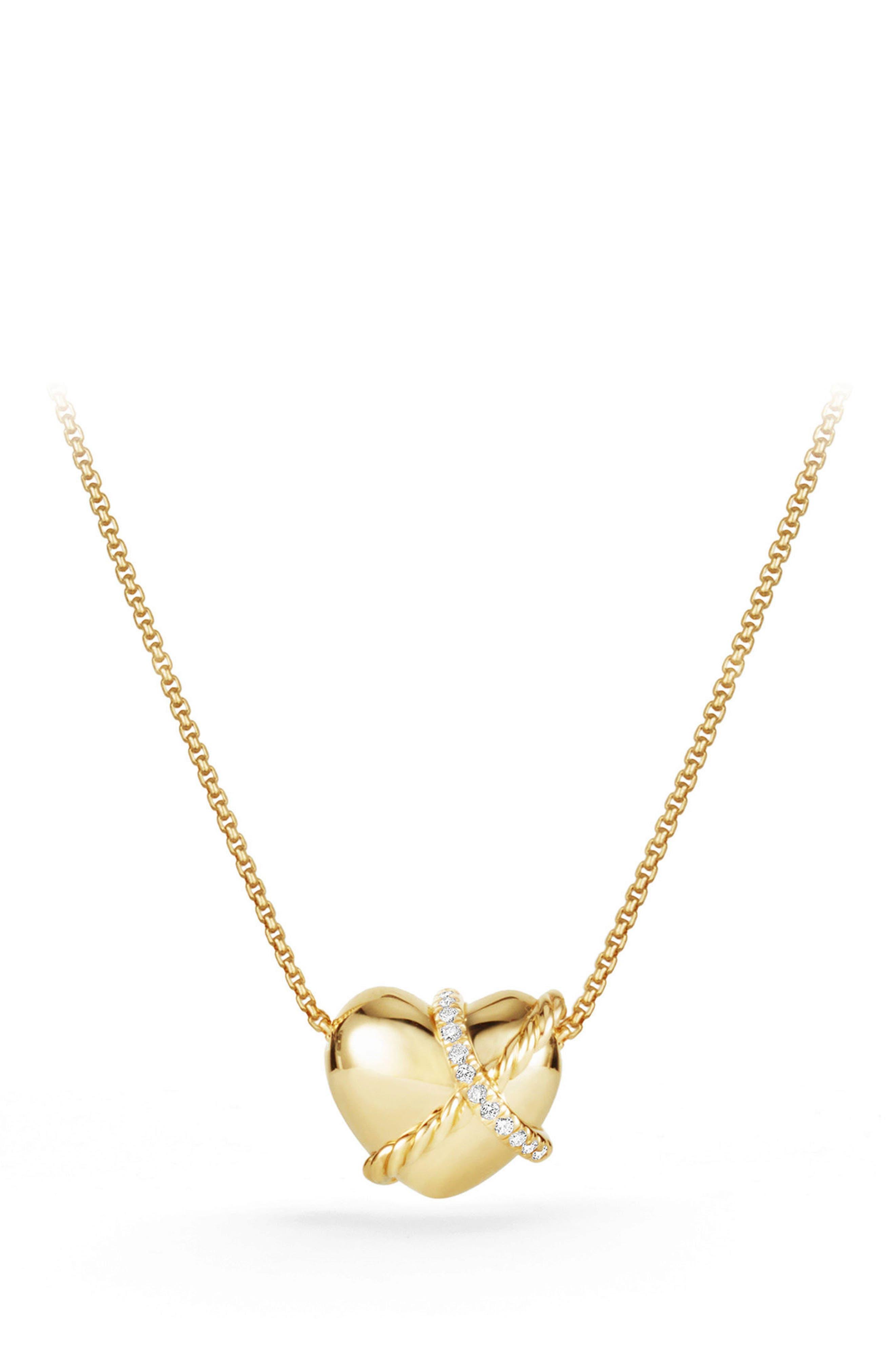 Main Image - David Yurman Heart Pendant Necklace in 18K Gold with Diamonds