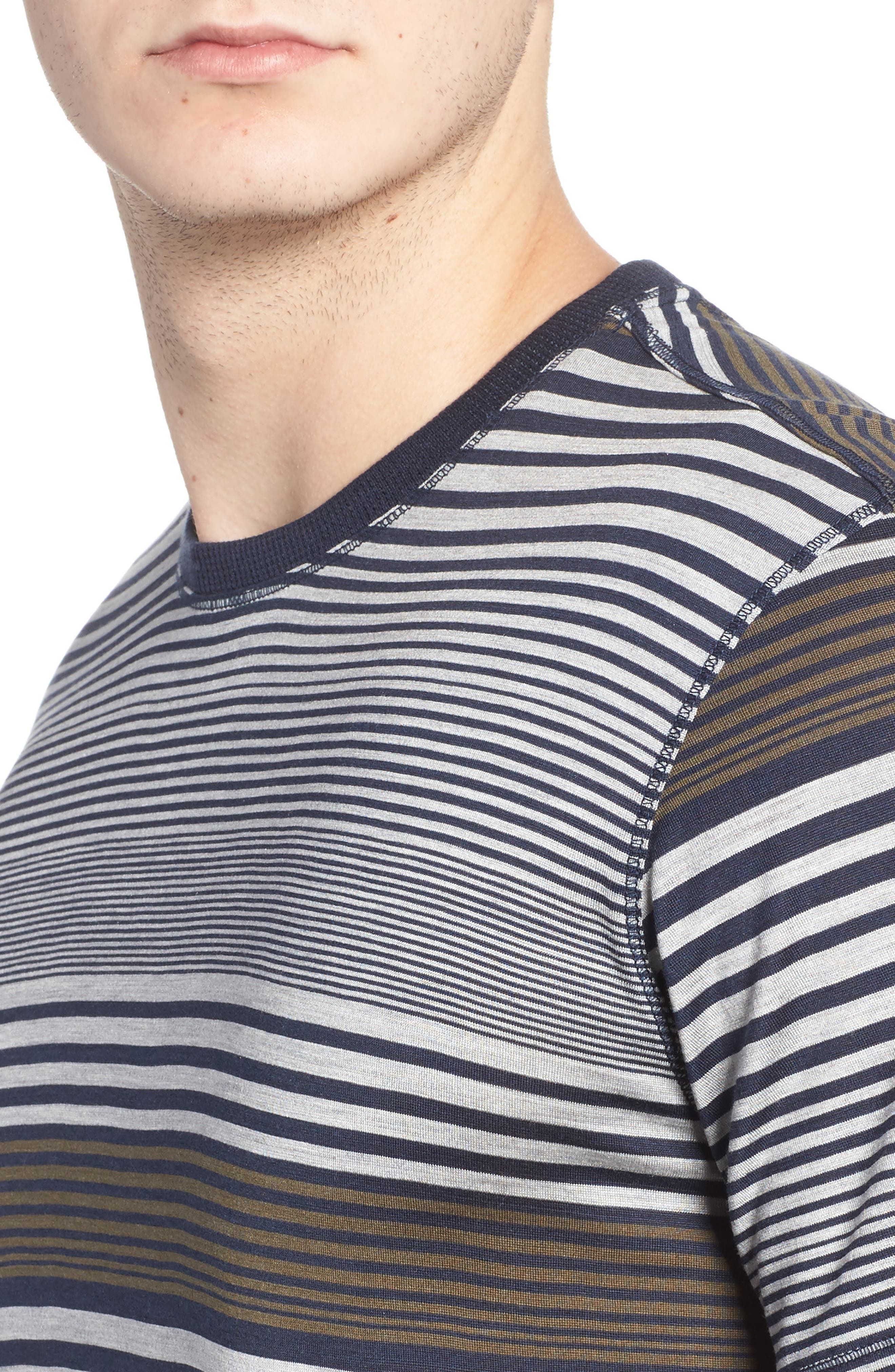 Stripe Silk & Cotton T-Shirt,                             Alternate thumbnail 4, color,                             Midnight/ Grey/ Army