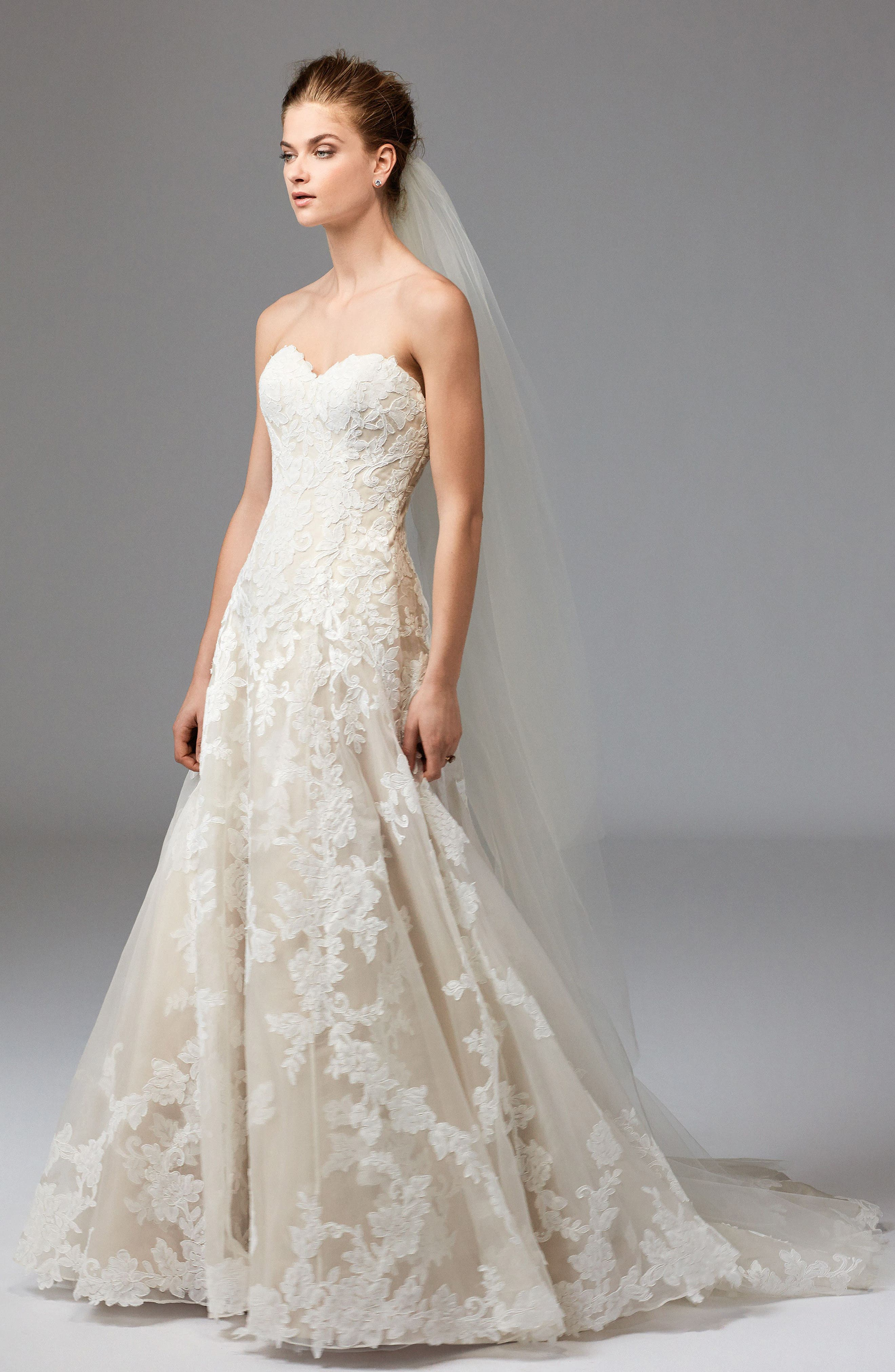 Aven Lace & Organza A-Line Gown,                             Alternate thumbnail 3, color,                             Ivory/ Nude
