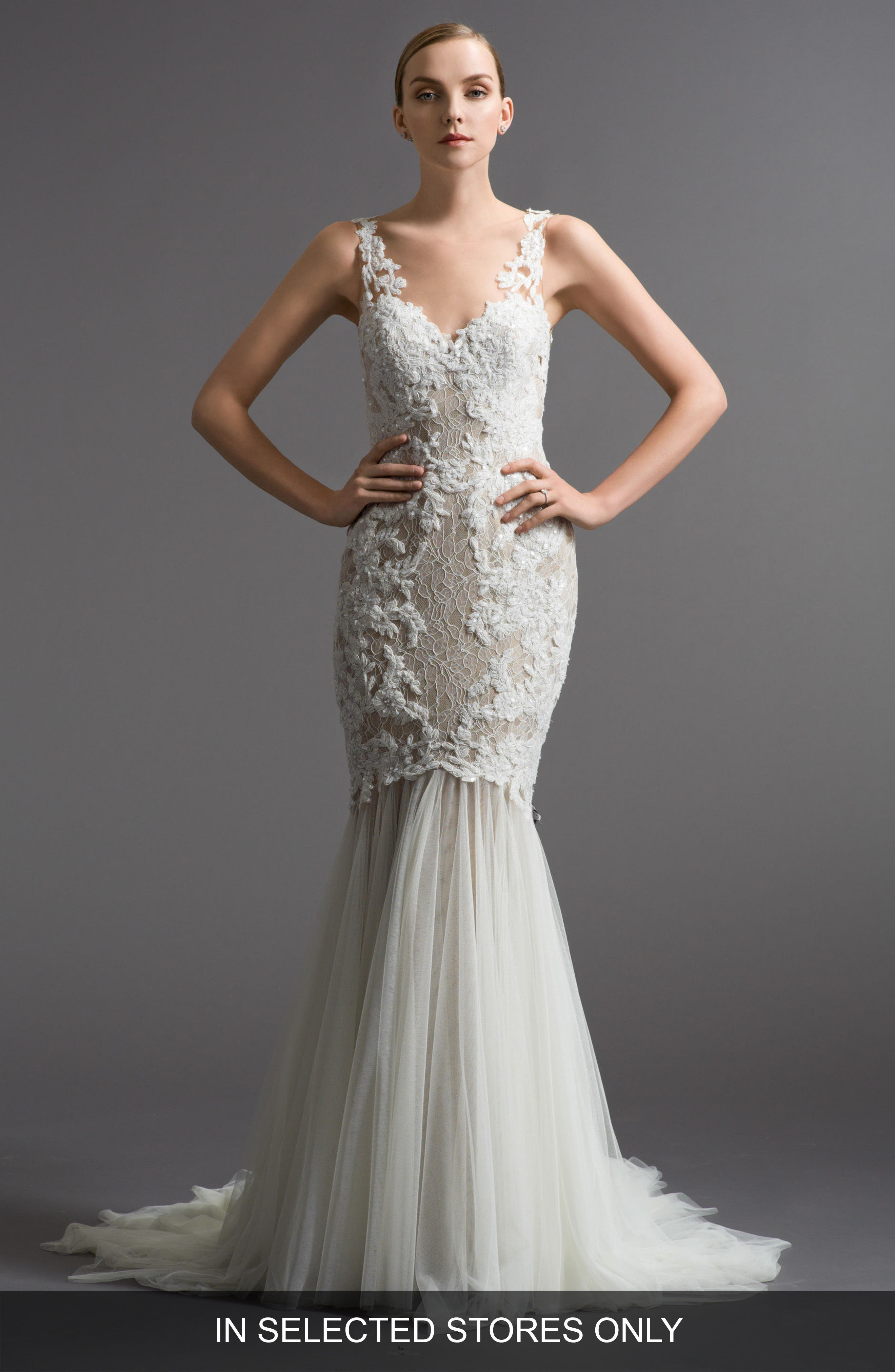 Cinzia Lace & Tulle Mermaid Gown,                         Main,                         color, Nude/Ivory/Bronze