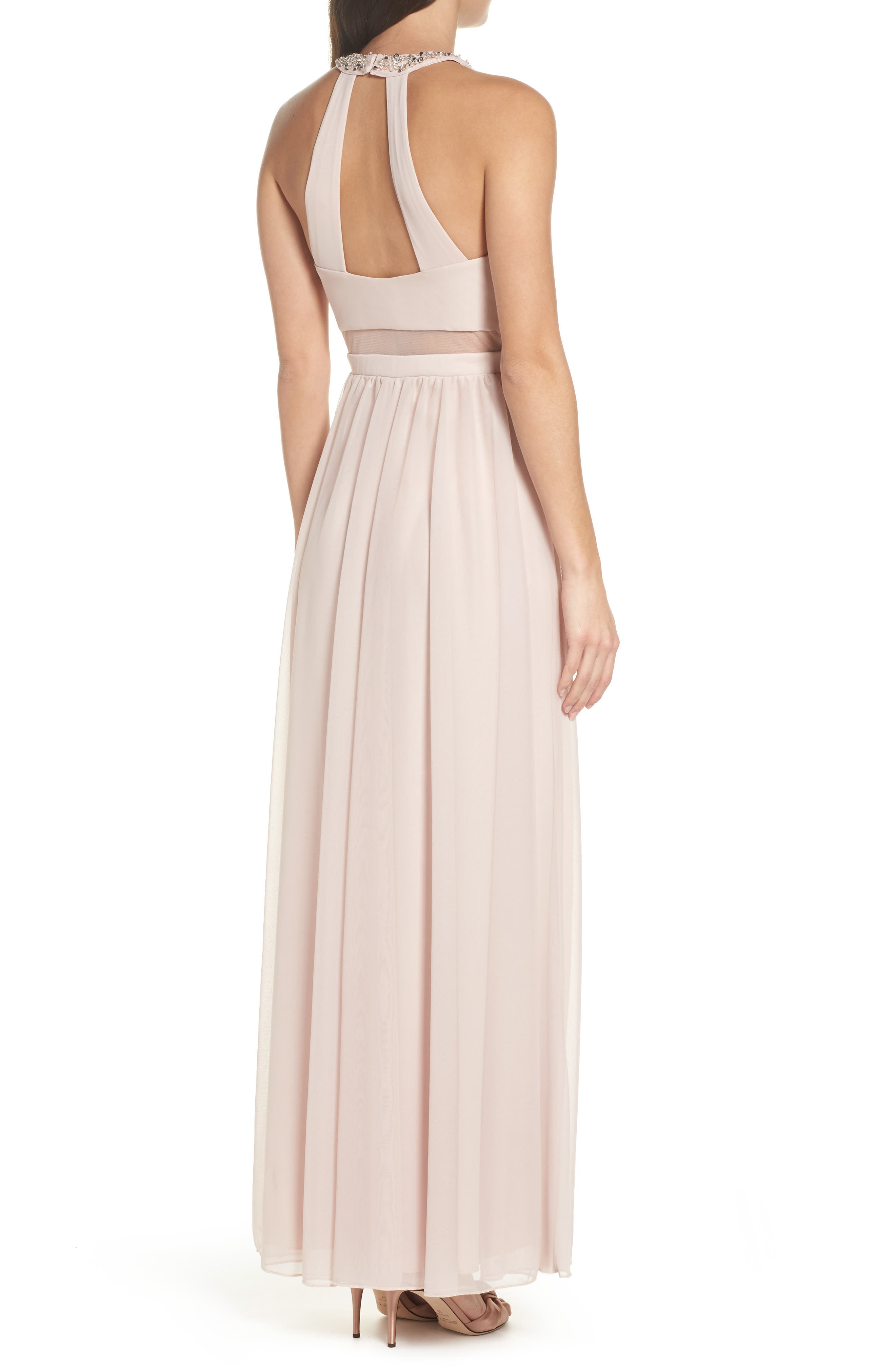 Beaded Jersey Halter Gown,                             Alternate thumbnail 2, color,                             Buff