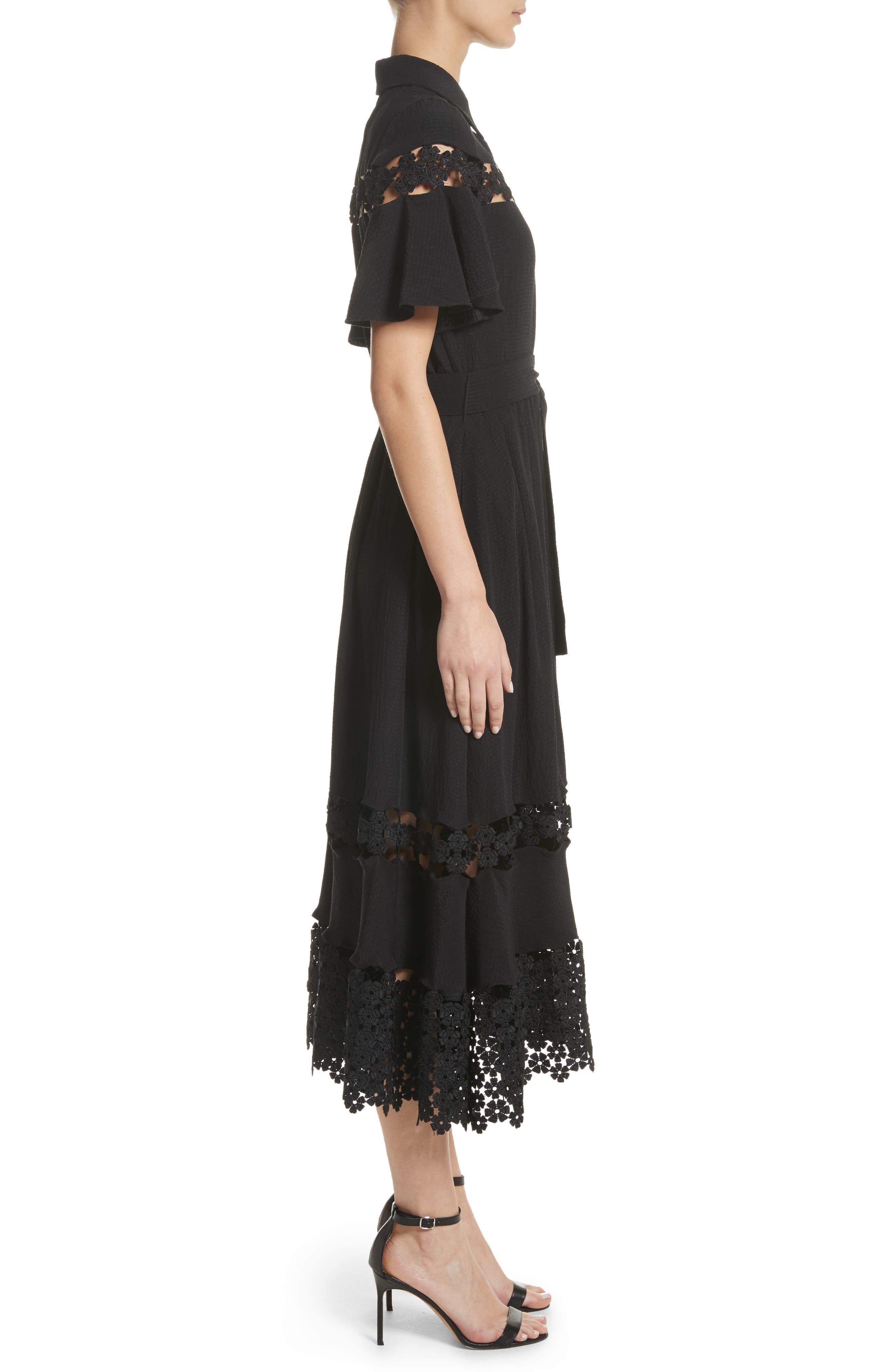 Lace Inset Flutter Sleeve Shirtdress,                             Alternate thumbnail 3, color,                             Black