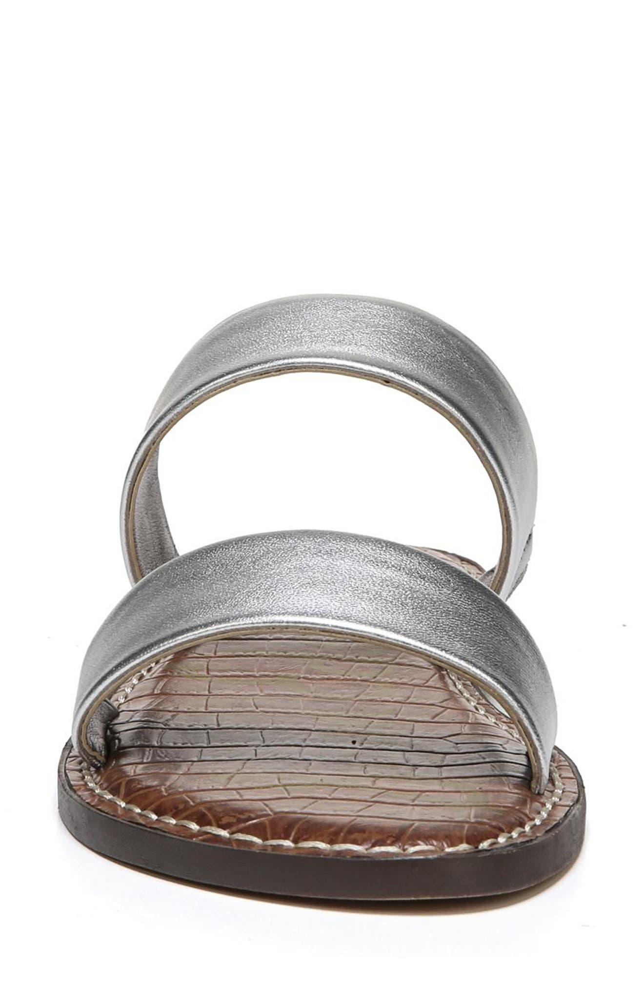 Gala Two Strap Slide Sandal,                             Alternate thumbnail 4, color,                             Silver Leather