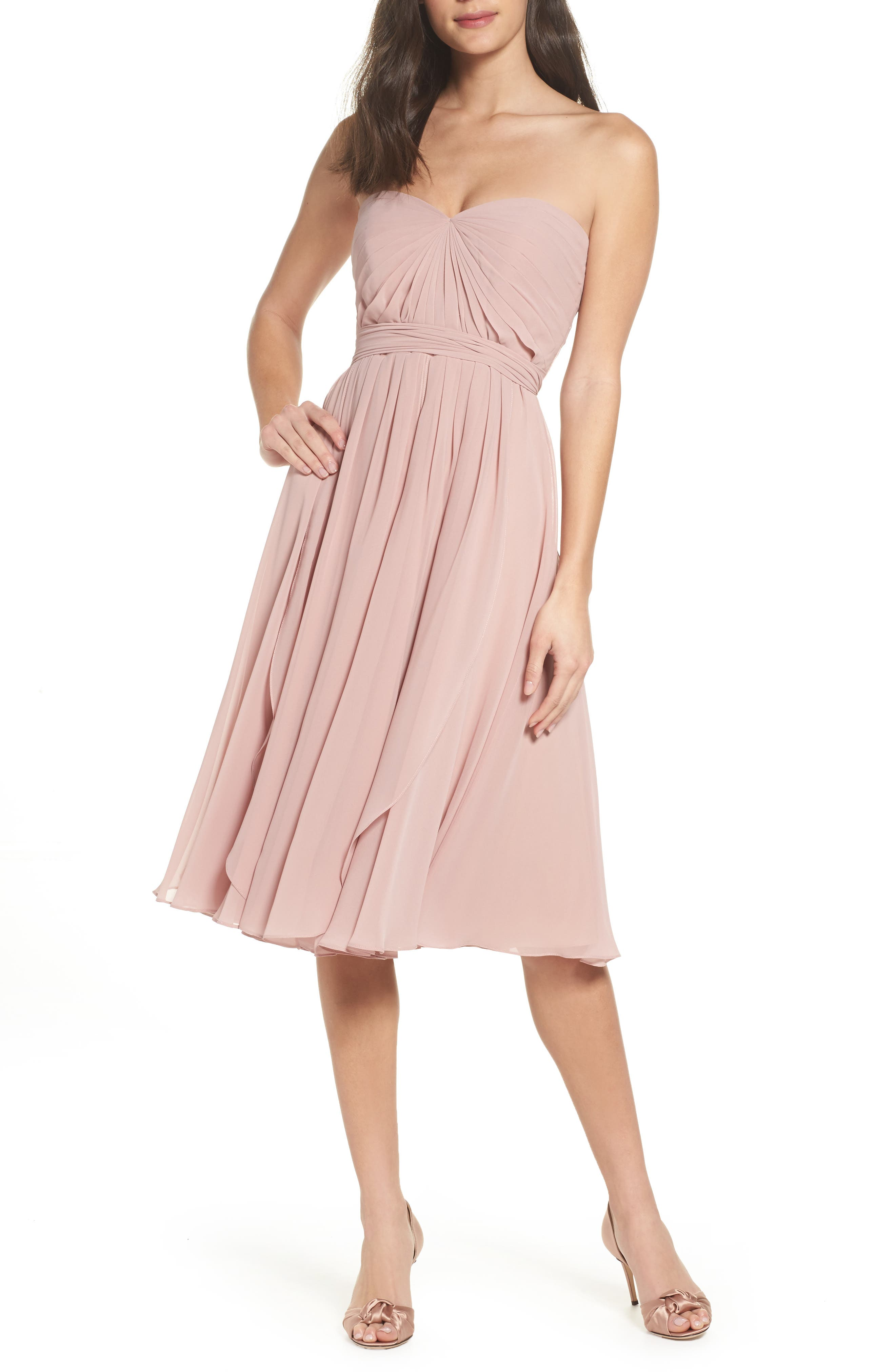 Emmie Convertible Chiffon Tea-Length Dress,                         Main,                         color, Whipped Apricot
