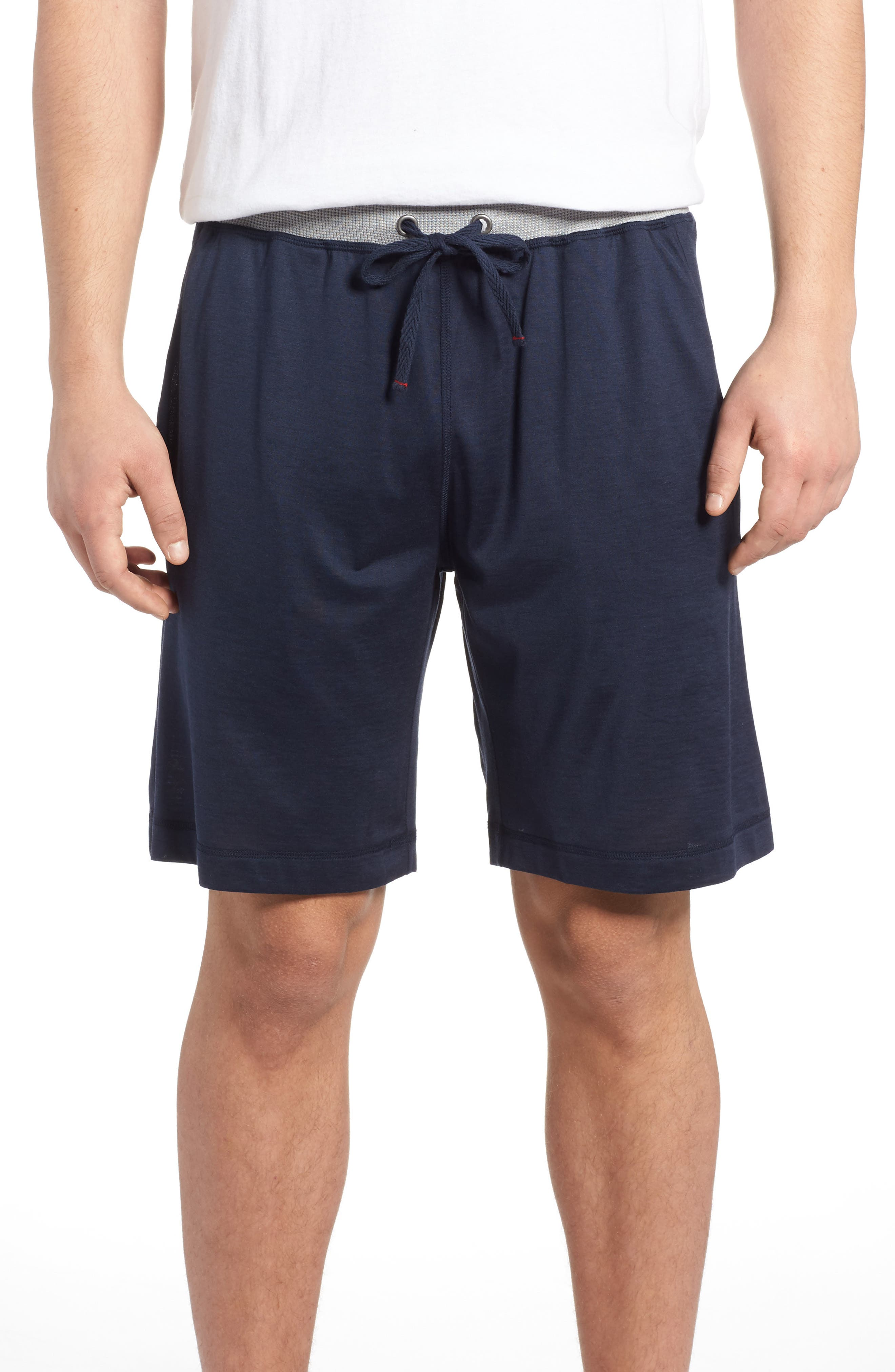 Silk & Cotton Lounge Shorts,                         Main,                         color, Midnight