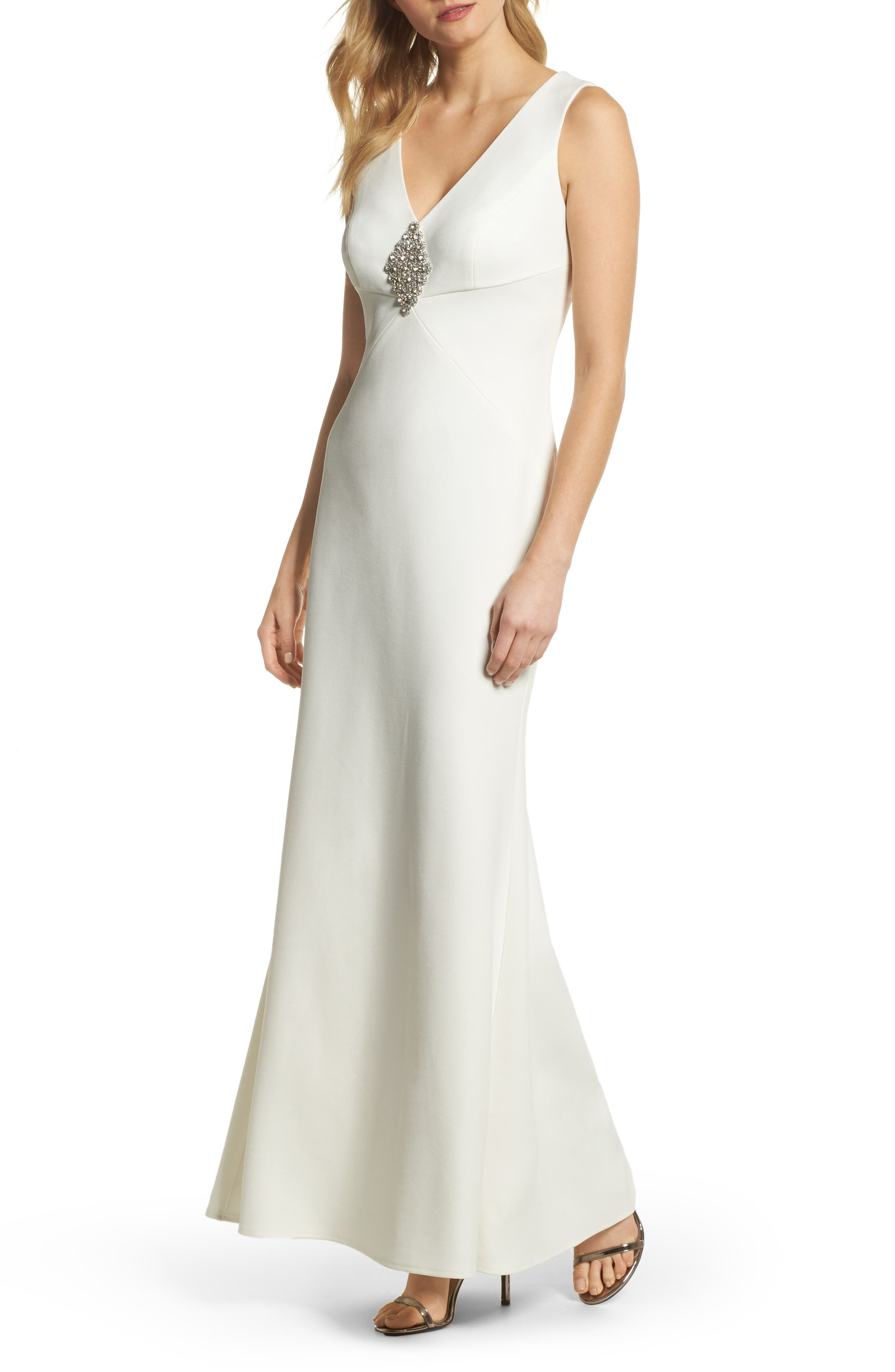 Embellished Scuba Crepe Gown,                             Main thumbnail 1, color,                             Ivory