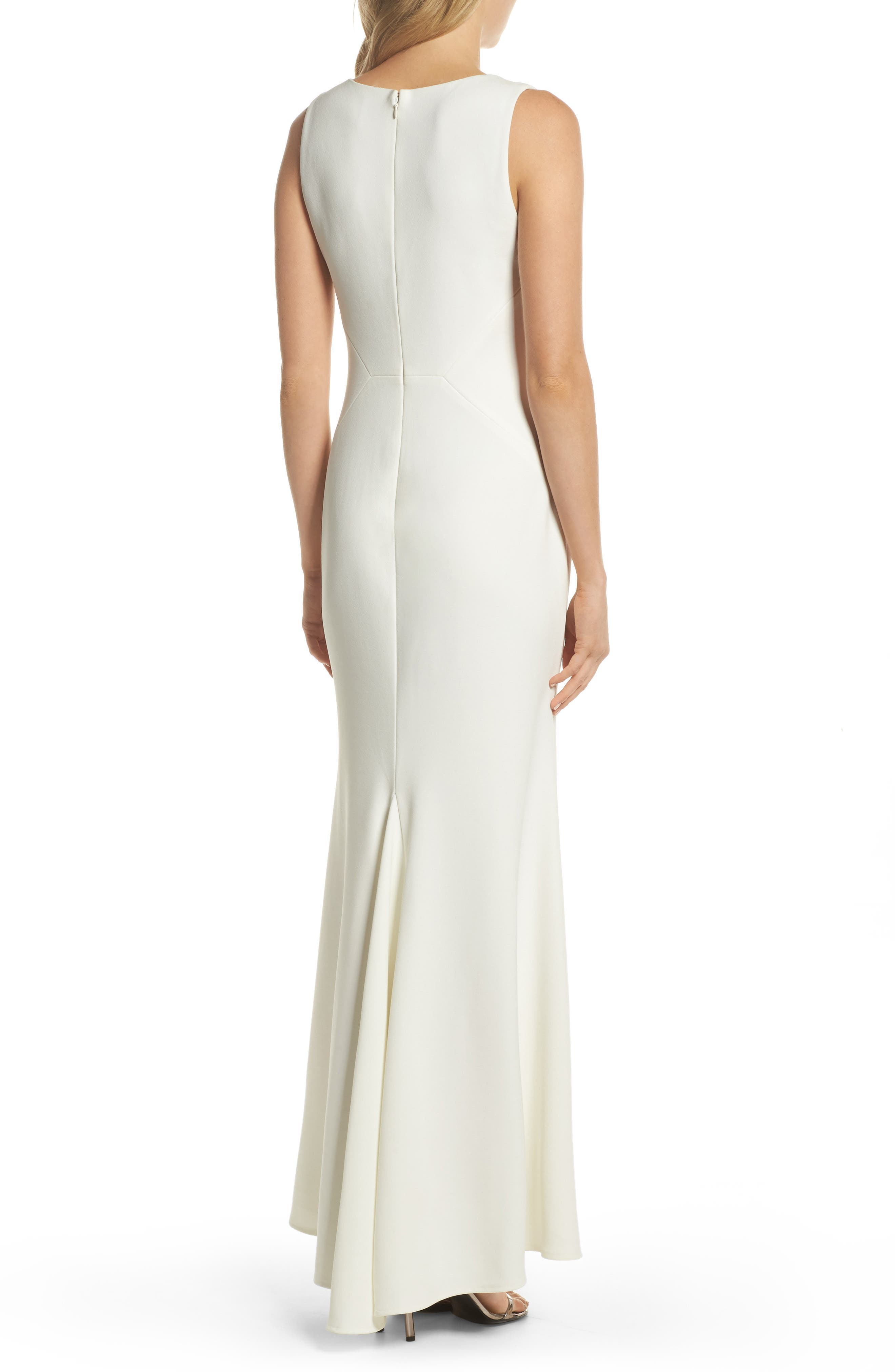 Embellished Scuba Crepe Gown,                             Alternate thumbnail 2, color,                             Ivory