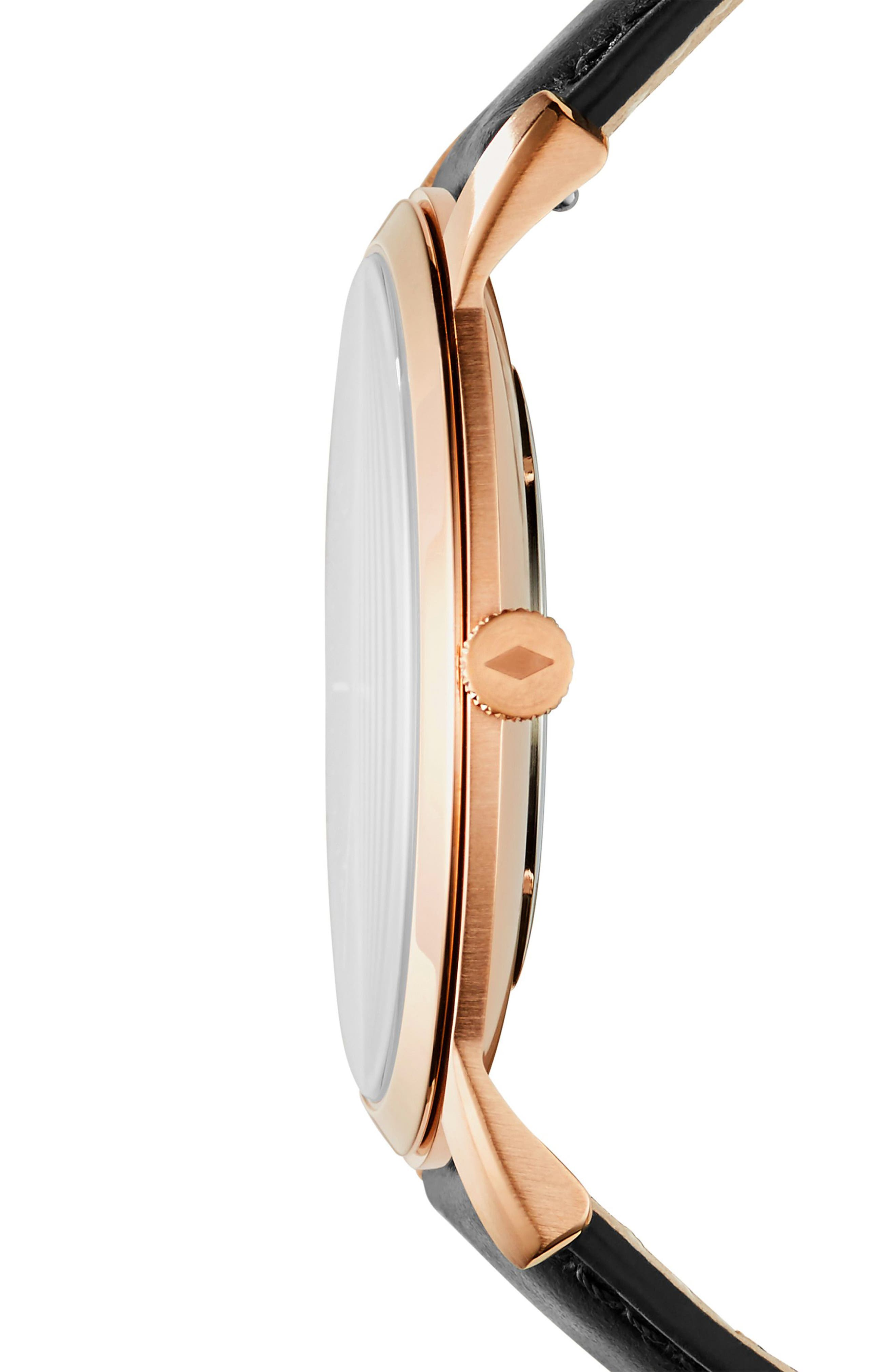 Minimalist Leather Strap Watch, 44mm,                             Alternate thumbnail 2, color,                             Black/ Rose Gold