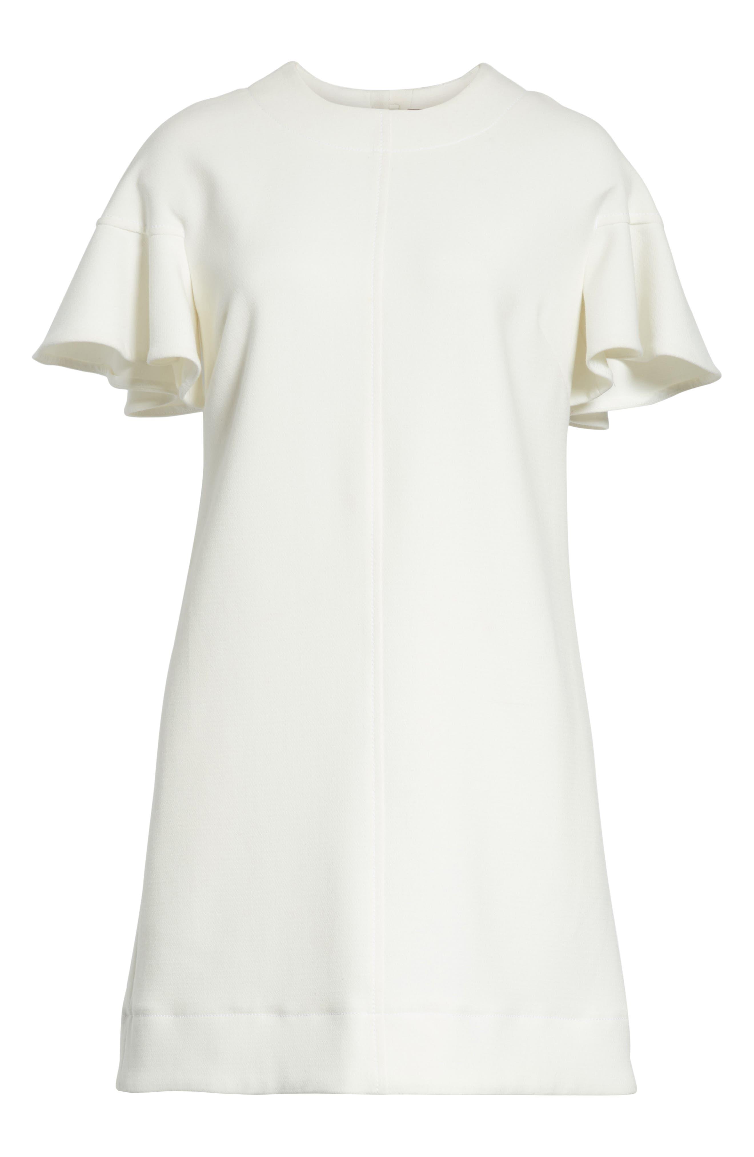 Flutter Sleeve Wool Blend Shift Dress,                             Alternate thumbnail 7, color,                             White