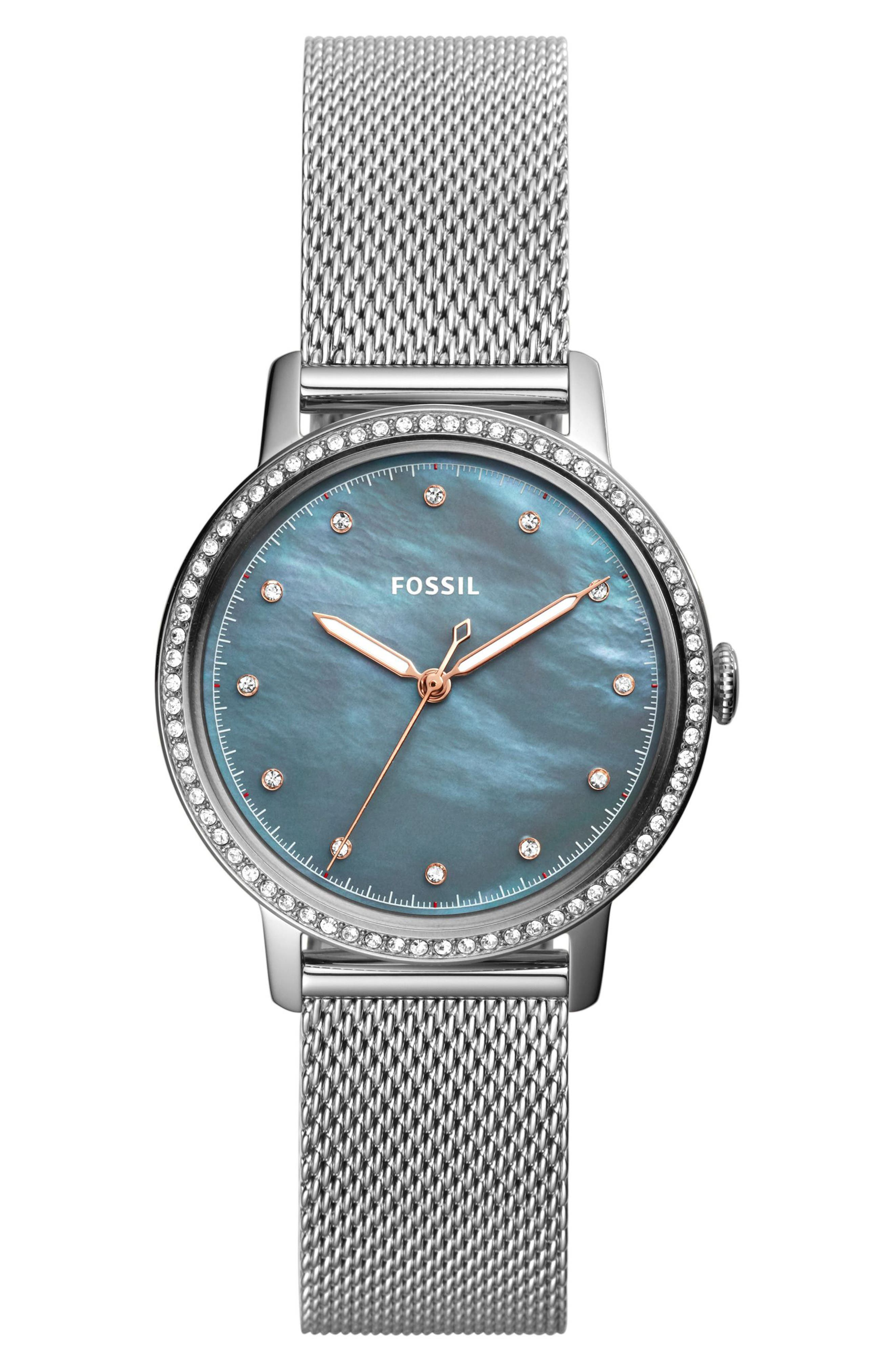 Neely Mesh Strap Watch, 34mm,                             Main thumbnail 1, color,                             Silver/ Grey/ Silver