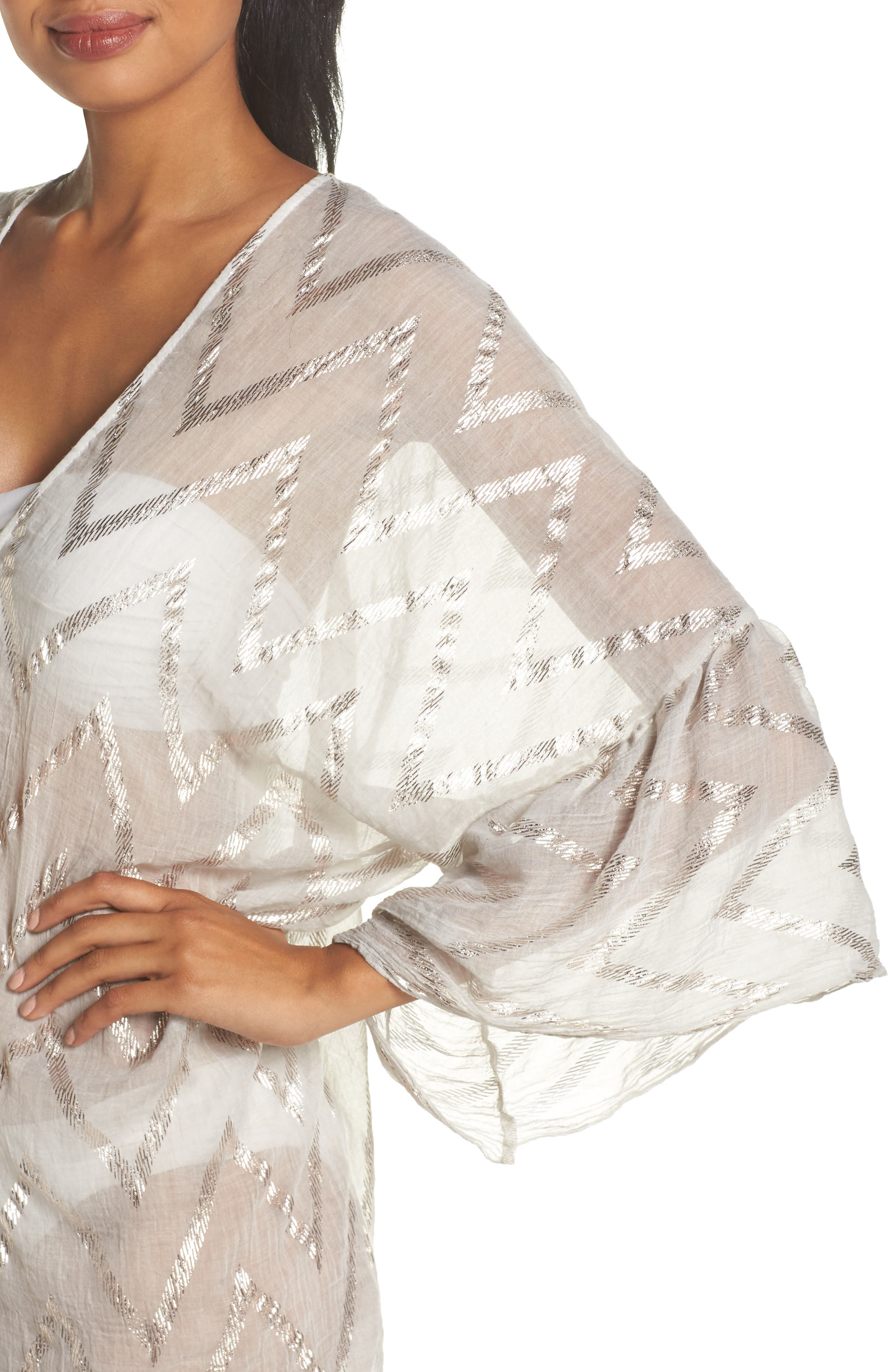 Metallic Chevron Cover-Up Caftan,                             Alternate thumbnail 4, color,                             Sand