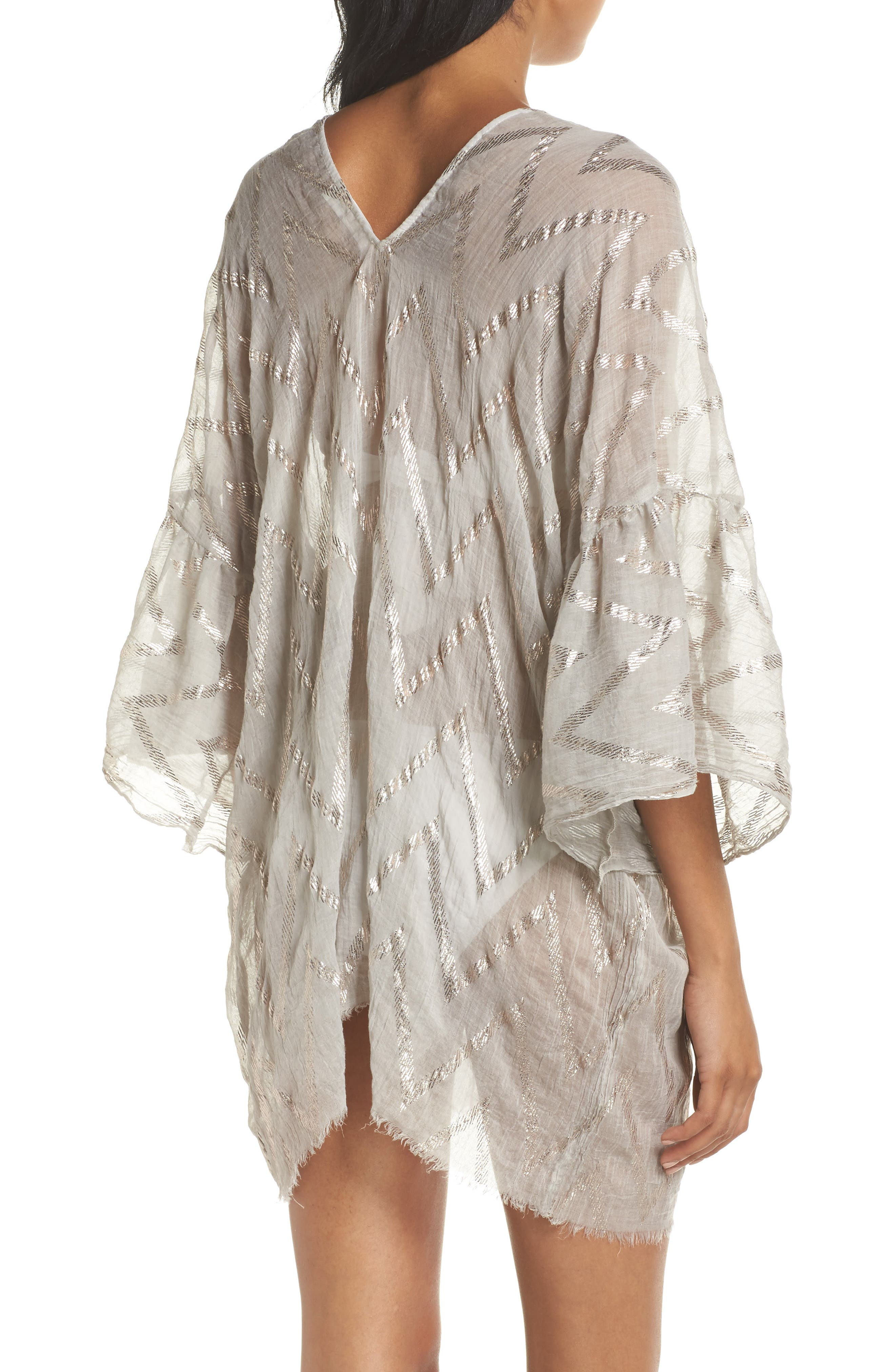 Metallic Chevron Cover-Up Caftan,                             Alternate thumbnail 2, color,                             Sand