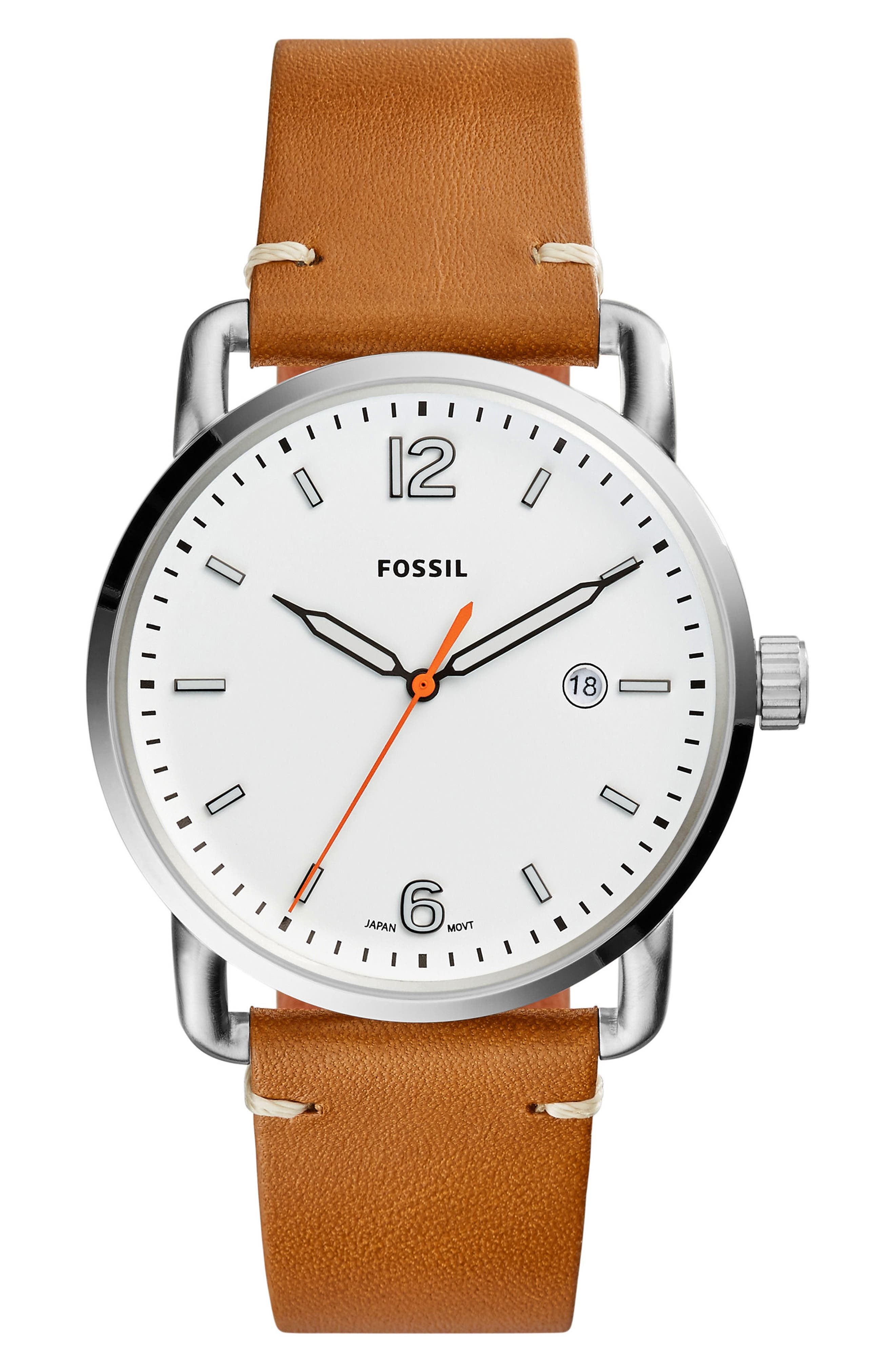 The Commuter Leather Strap Watch, 42mm,                             Main thumbnail 1, color,                             Brown/ White/ Silver