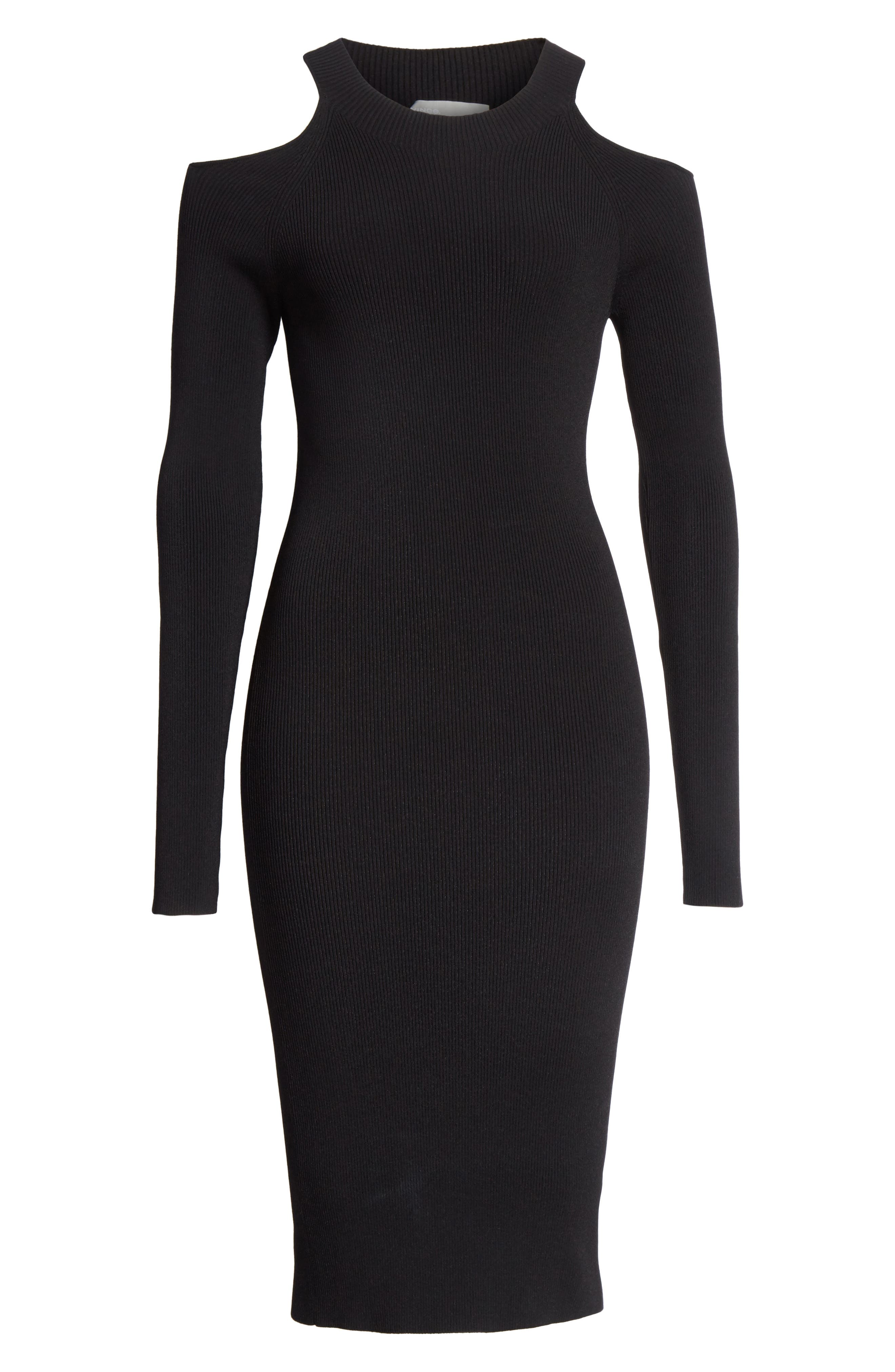 Cold Shoulder Body-Con Dress,                             Alternate thumbnail 6, color,                             Black