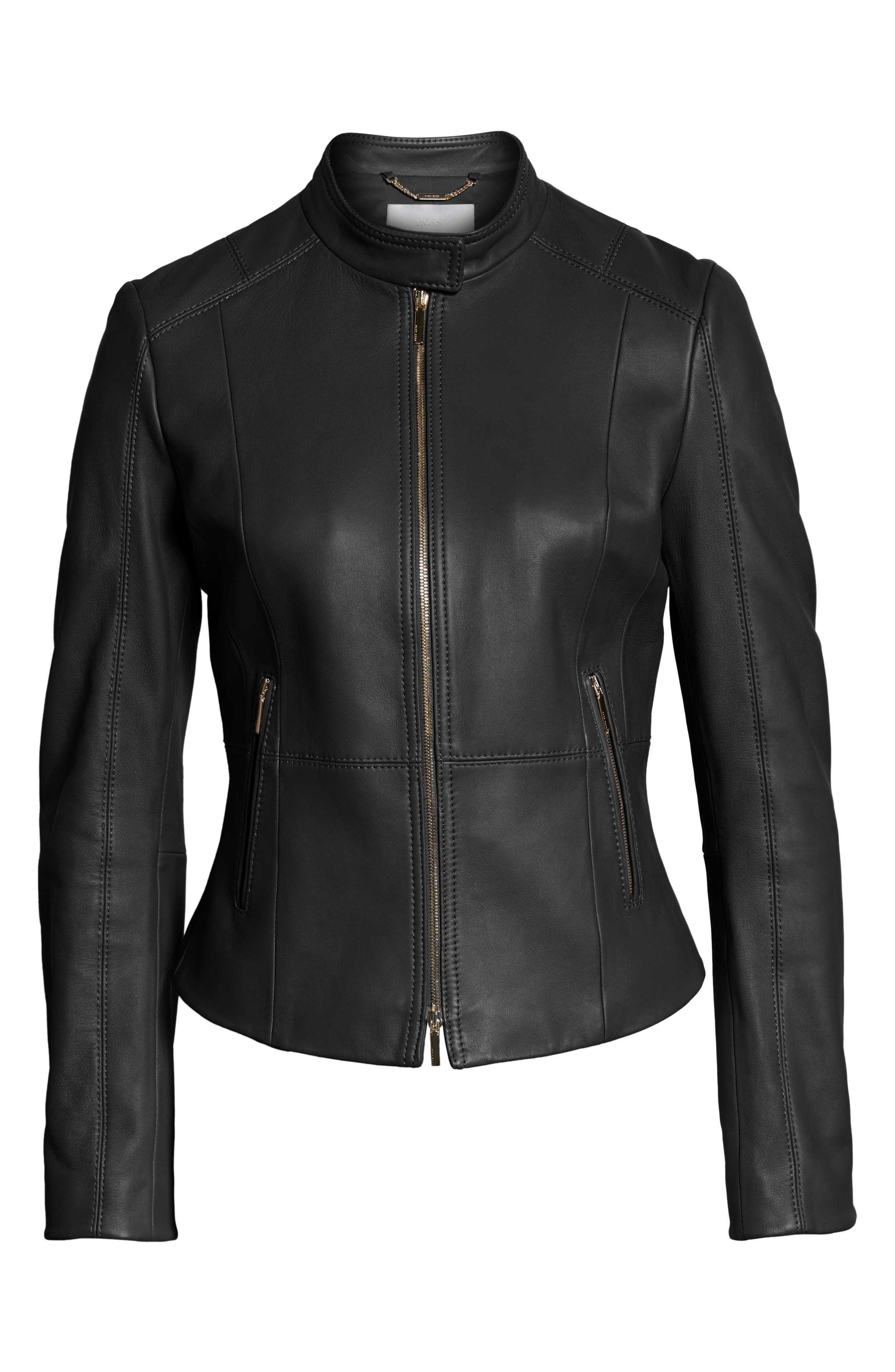 Sammonaie Leather Jacket,                             Main thumbnail 1, color,                             Black