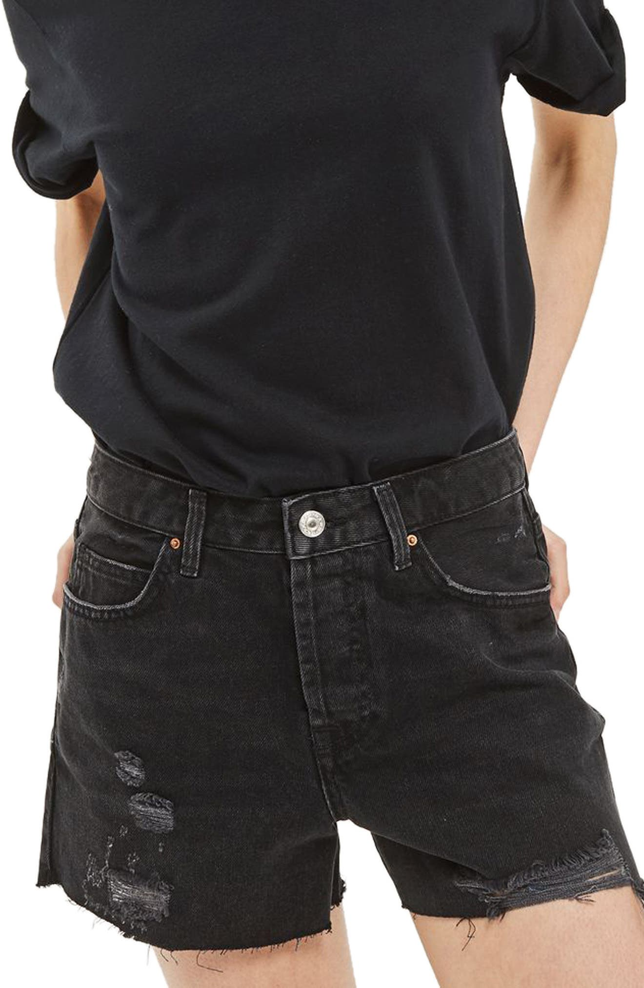 Main Image - Topshop Ashley Ripped Denim Boyfriend Shorts