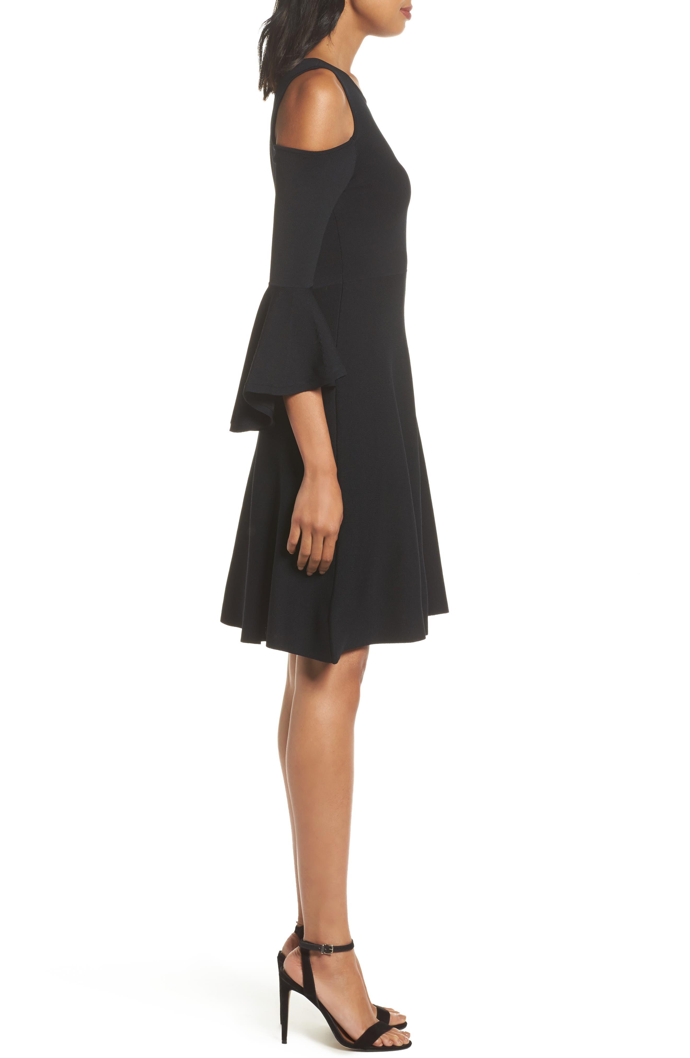 Cold Shoulder Fit & Flare Dress,                             Alternate thumbnail 3, color,                             Black