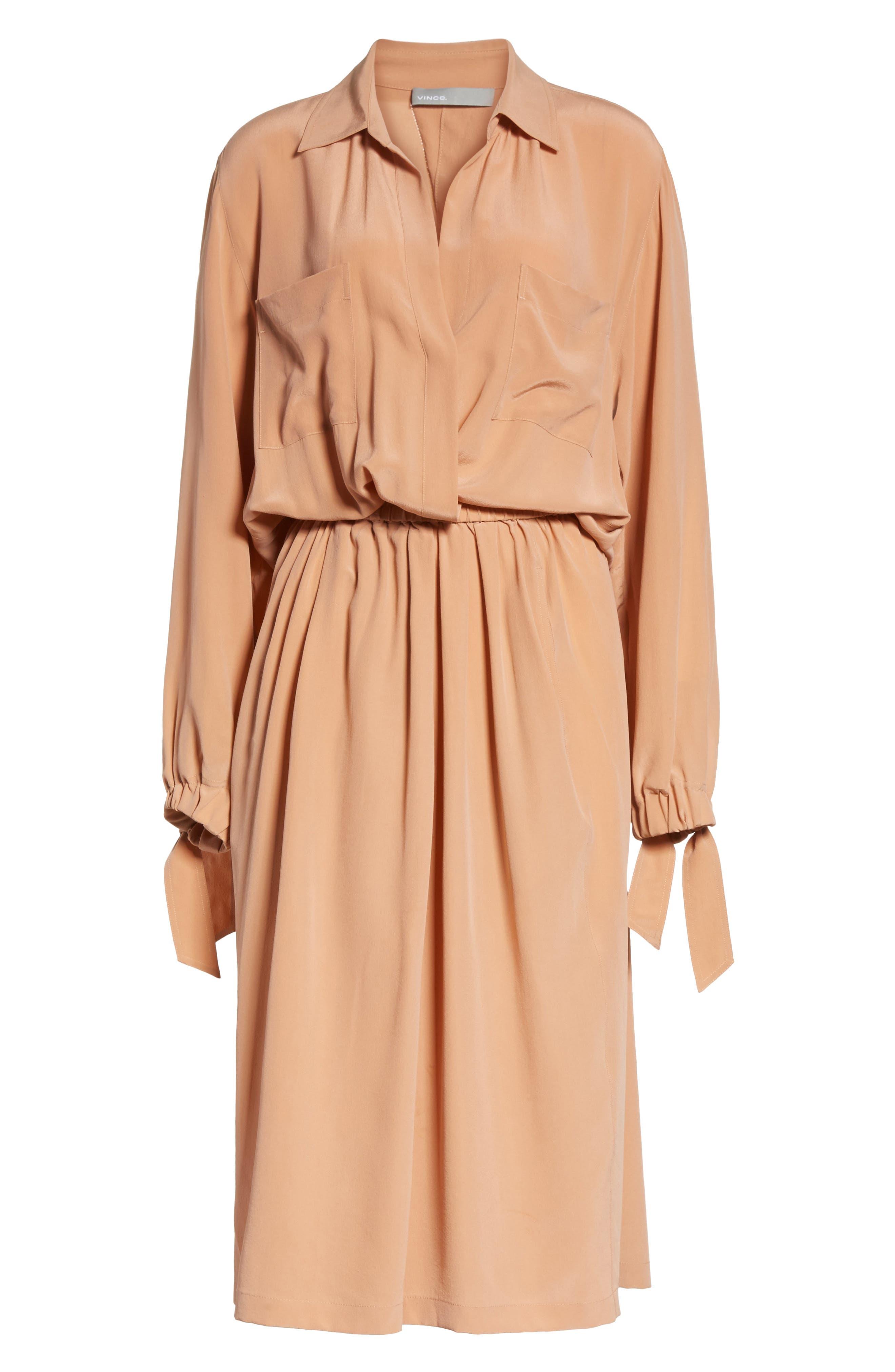 Silk Slit Back Shirtdress,                             Alternate thumbnail 7, color,                             Blush