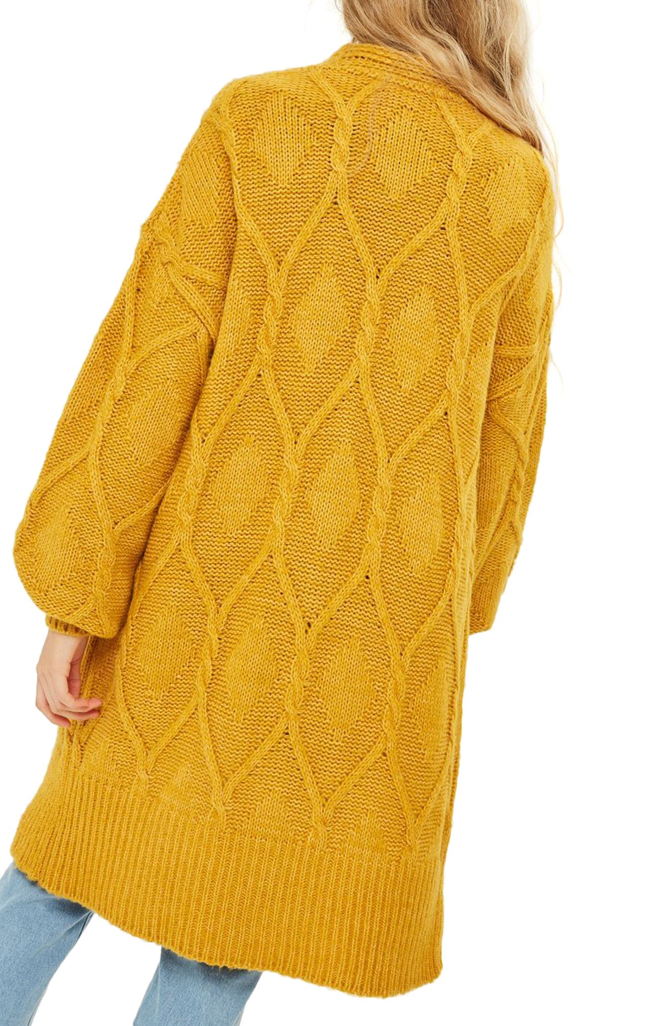 Longline Cable Cardigan,                             Alternate thumbnail 3, color,                             Mustard