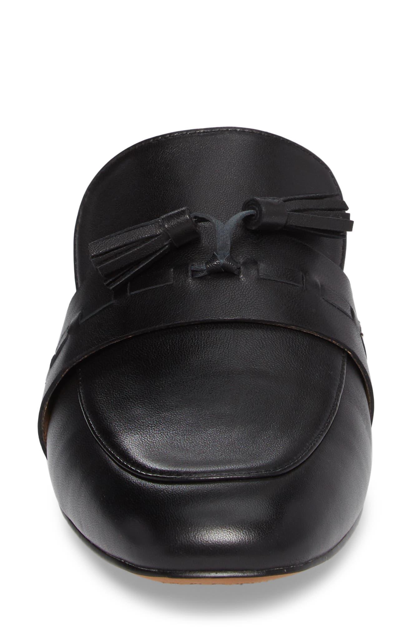 Abbot Tassel Mule,                             Alternate thumbnail 4, color,                             Black Leather