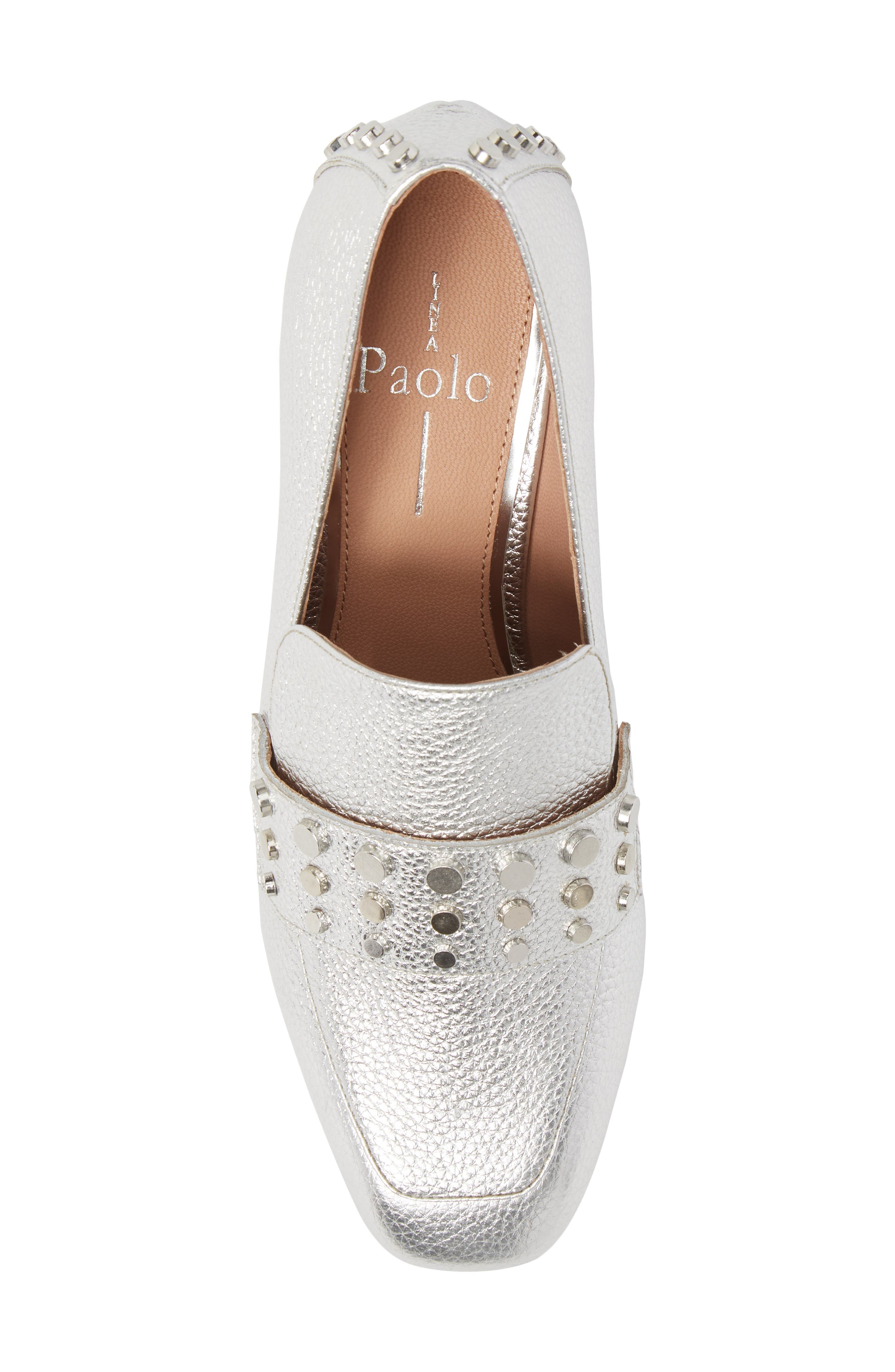 Luca Studded Pump,                             Alternate thumbnail 5, color,                             Silver Leather