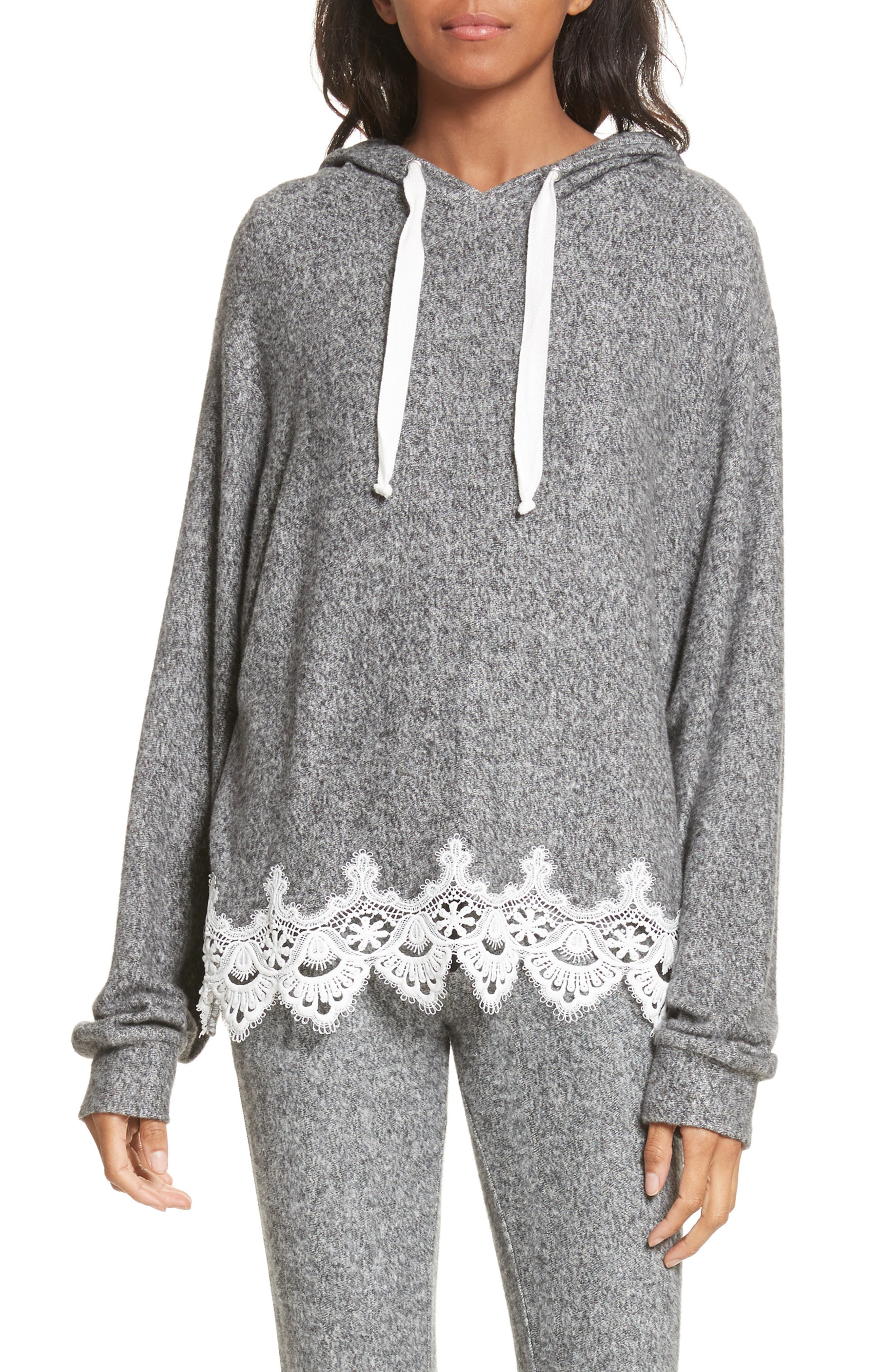 Lace Hem Hoodie,                             Main thumbnail 1, color,                             Grey