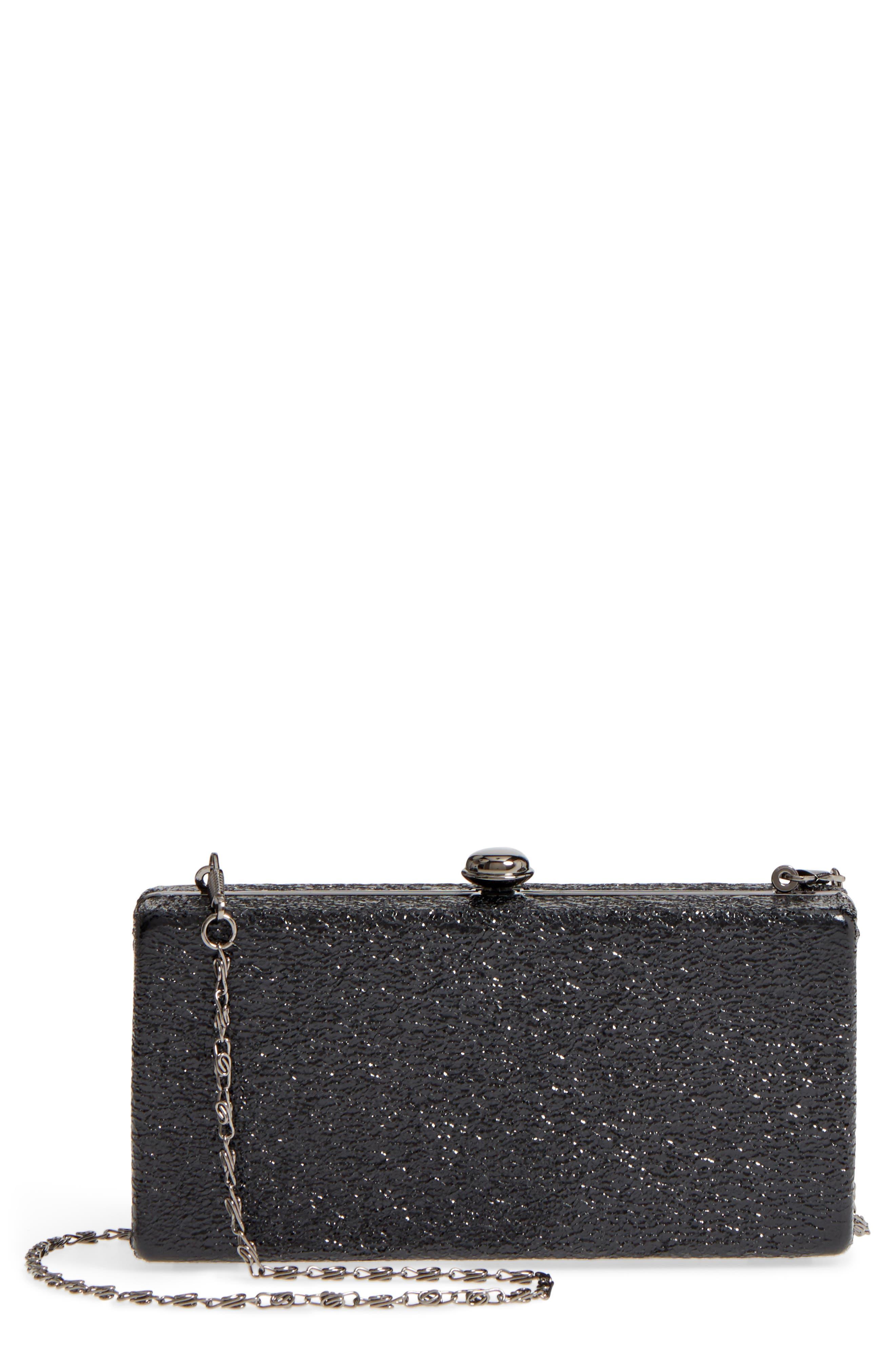 Clio Glitter Box Clutch,                         Main,                         color, Black