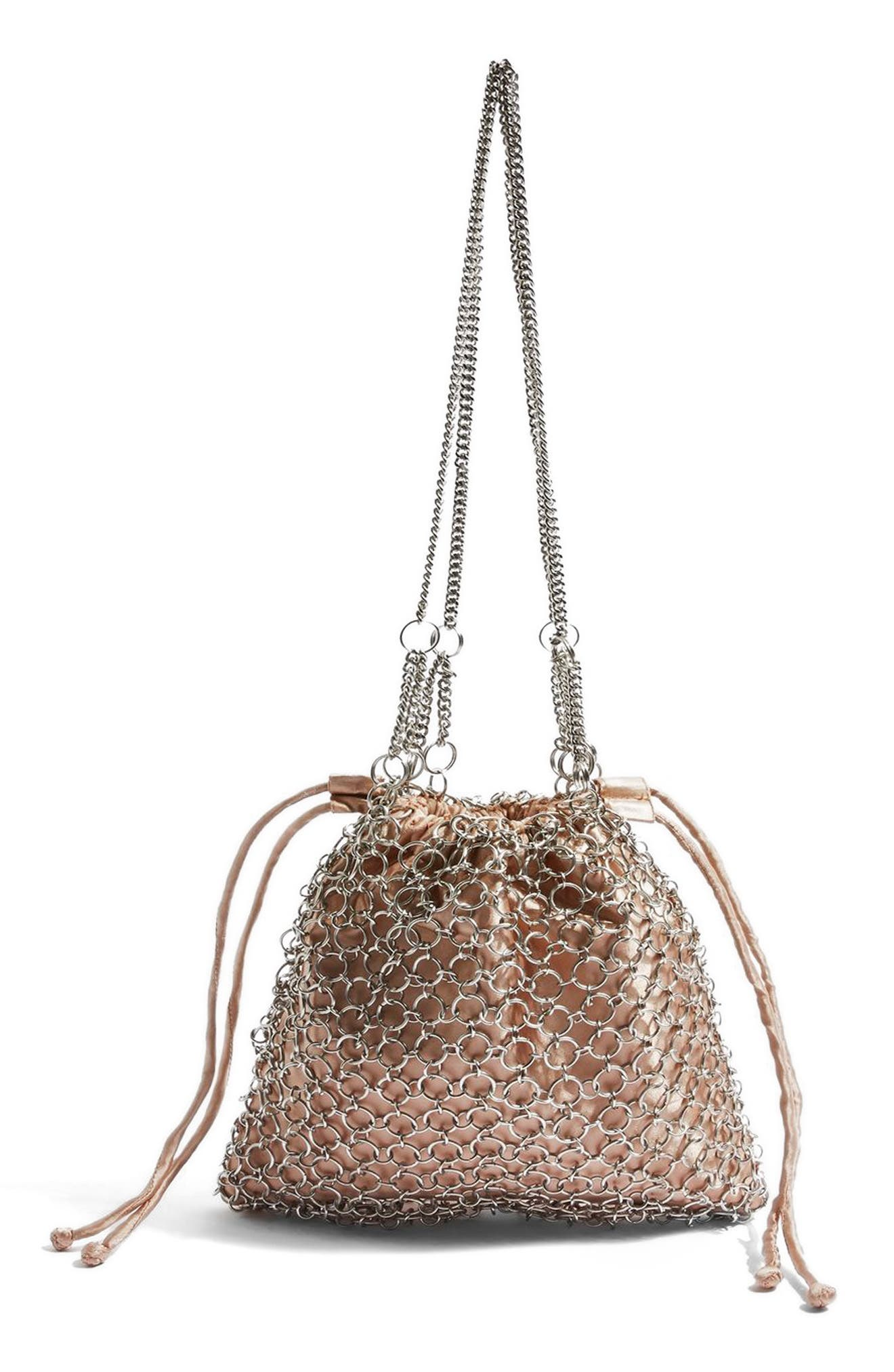 Cage Drawstring Shoulder Bag,                             Main thumbnail 1, color,                             Pink Multi