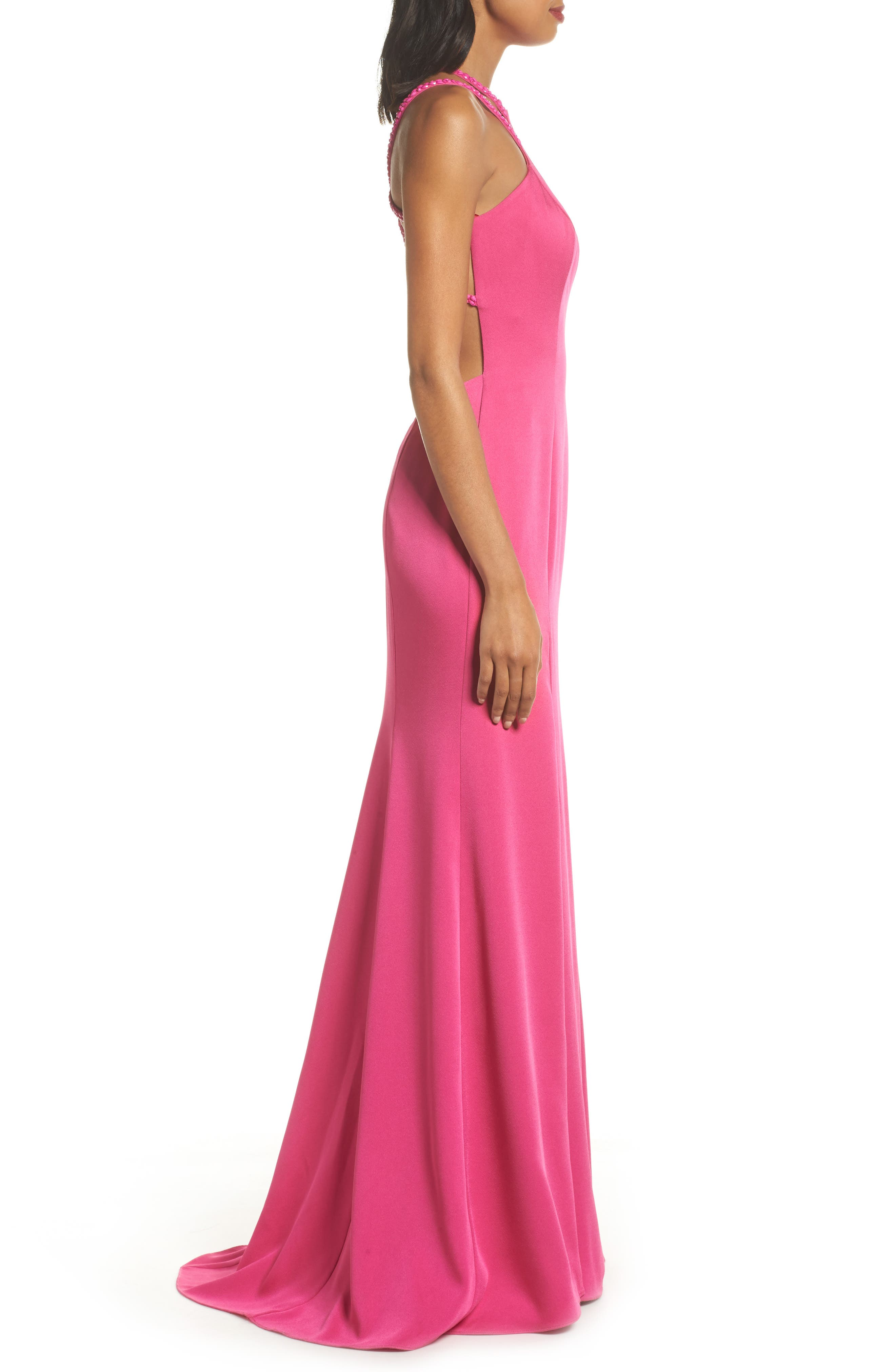 Alternate Image 4  - La Femme Beaded Strap Satin Gown