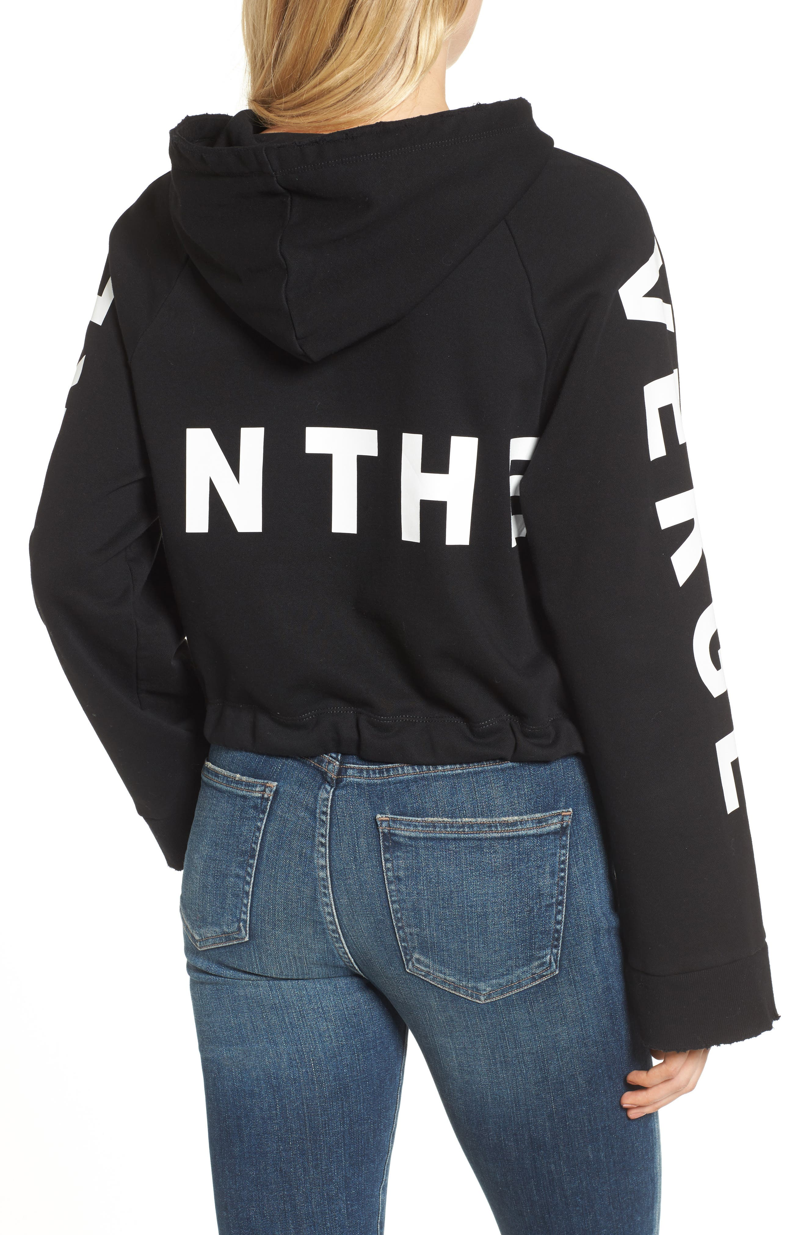 Girl on the Verge Crop Sweatshirt,                             Alternate thumbnail 2, color,                             Black