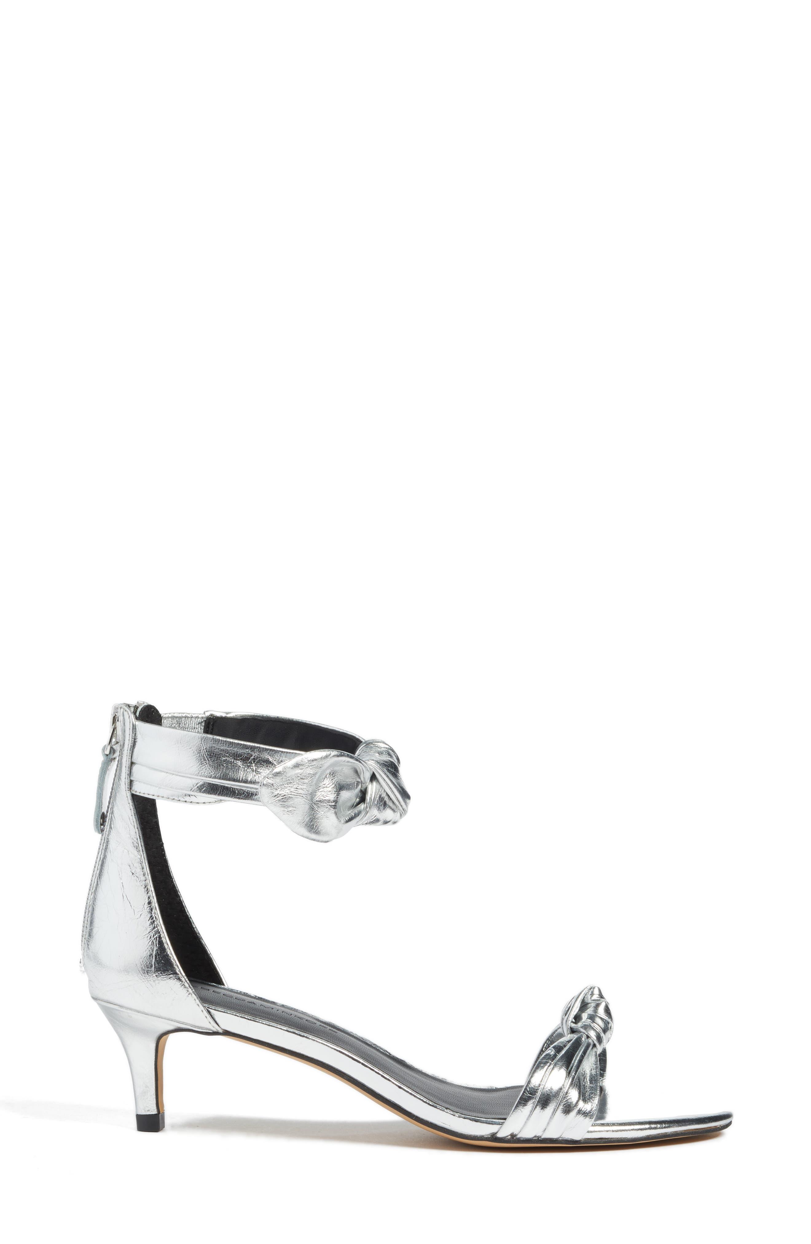 Kaley Knotted Kitten Heel Sandal,                             Alternate thumbnail 3, color,                             Silver Metallic Leather