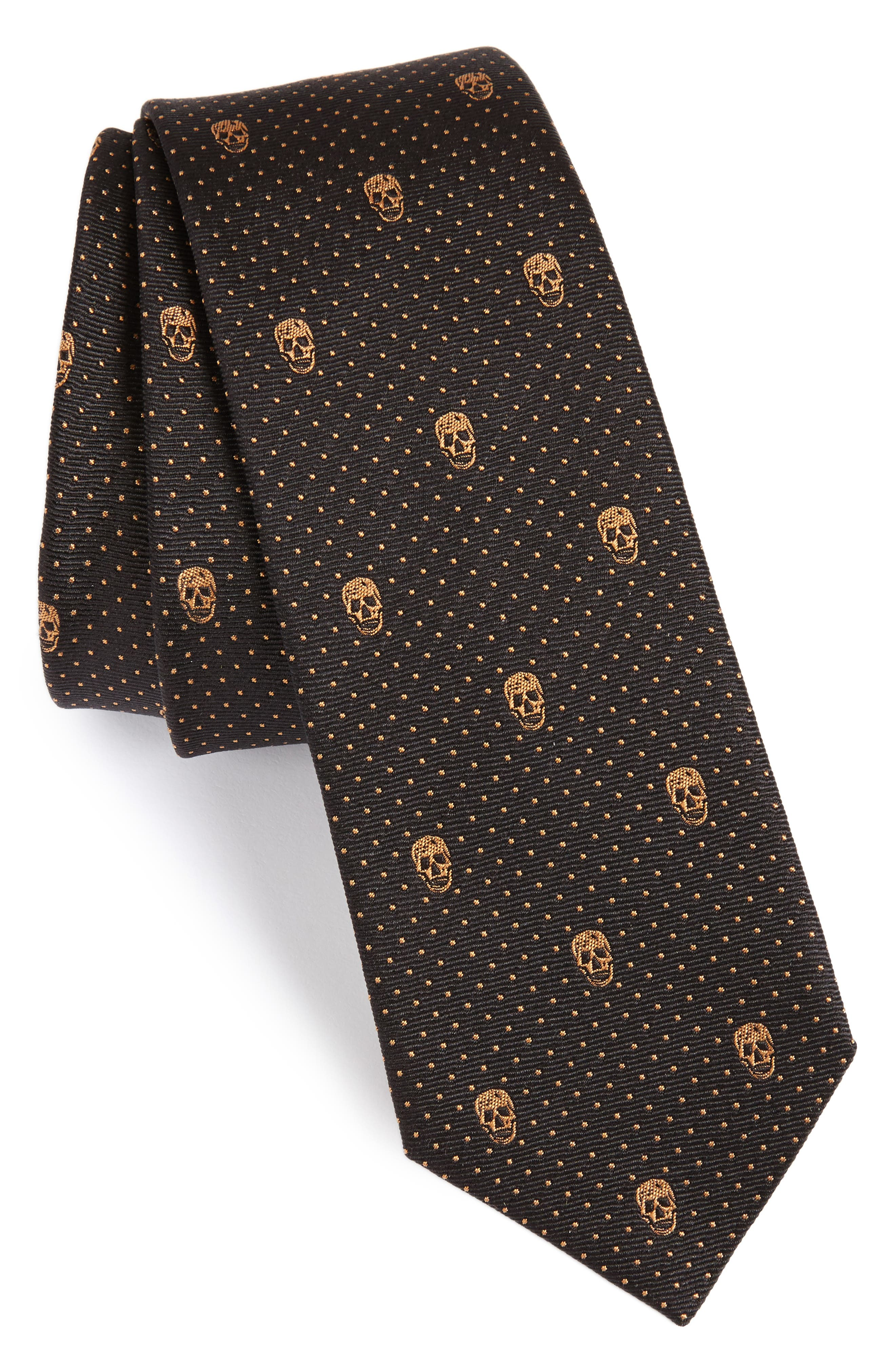 Skull Polka Dot Silk Skinny Tie,                             Main thumbnail 1, color,                             Grey