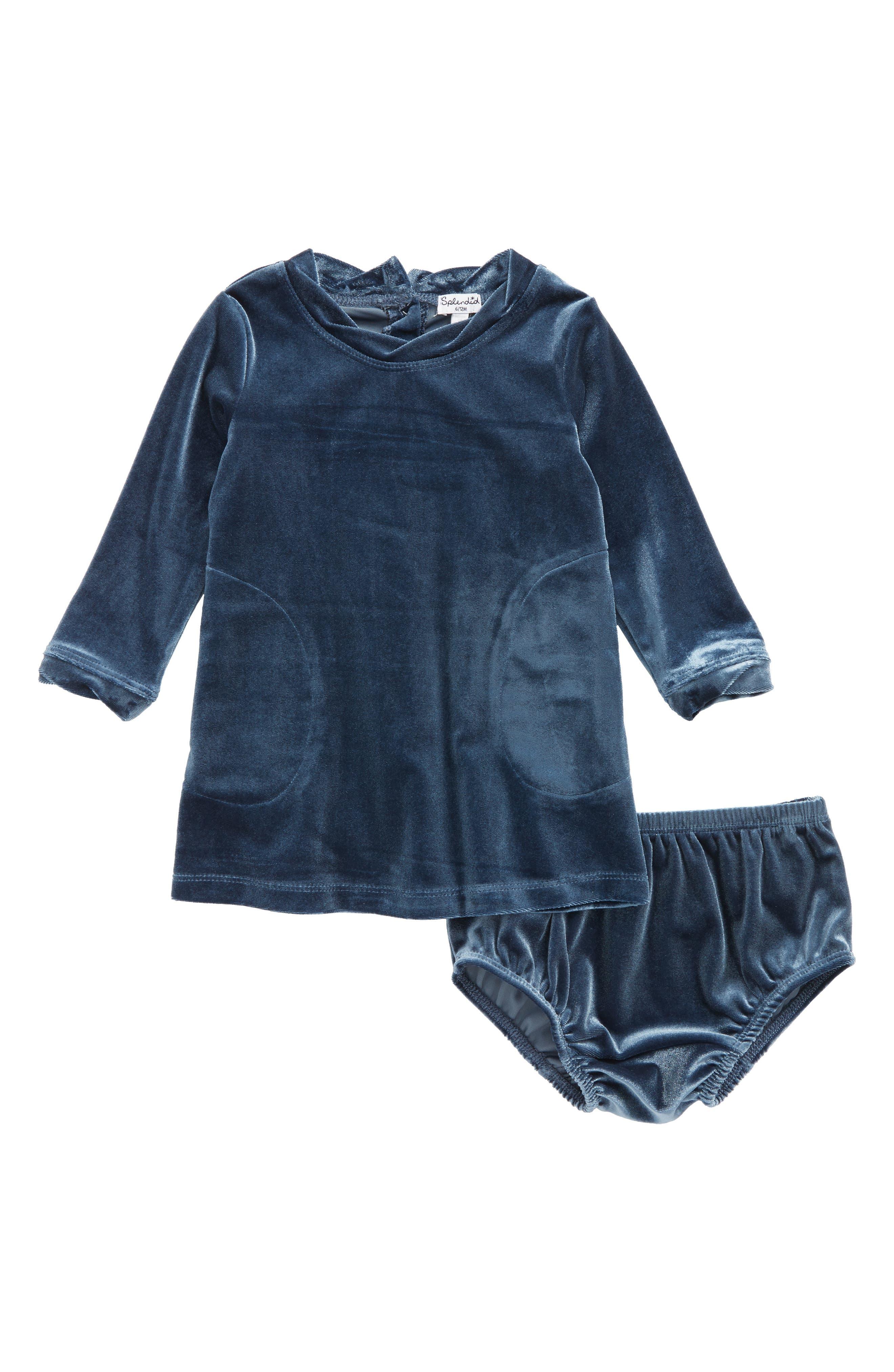 Velour Dress,                         Main,                         color, Blue