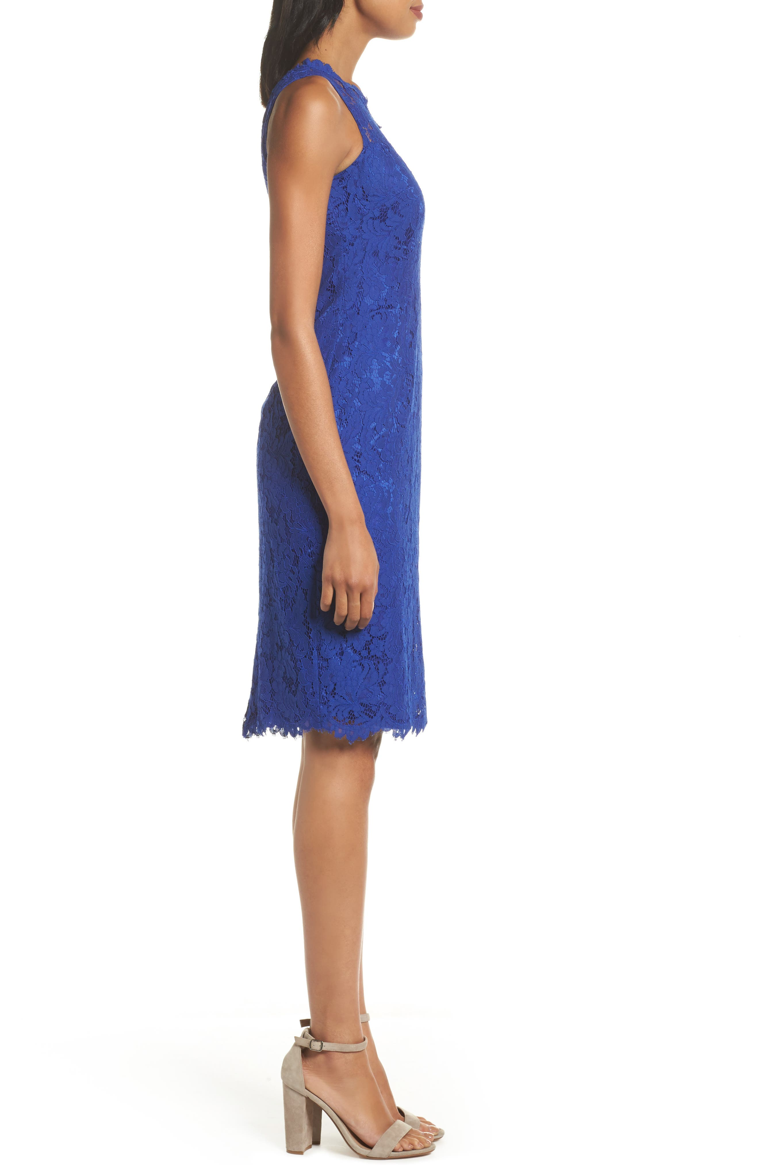 One-Shoulder Lace Sheath Dress,                             Alternate thumbnail 3, color,                             Royal