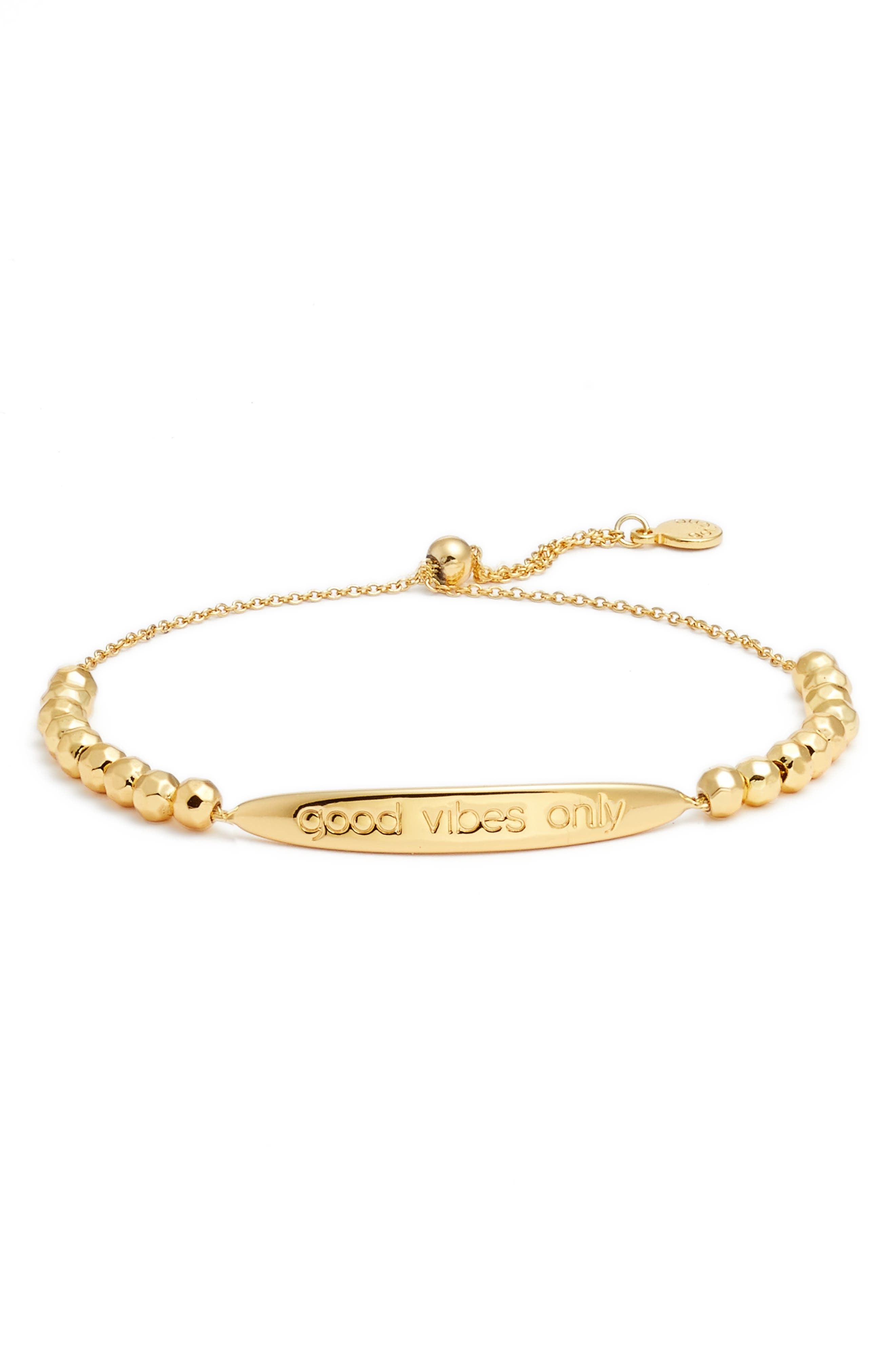 Power Intention Bracelet Good Vibes Only Bracelet,                             Main thumbnail 1, color,                             Gold