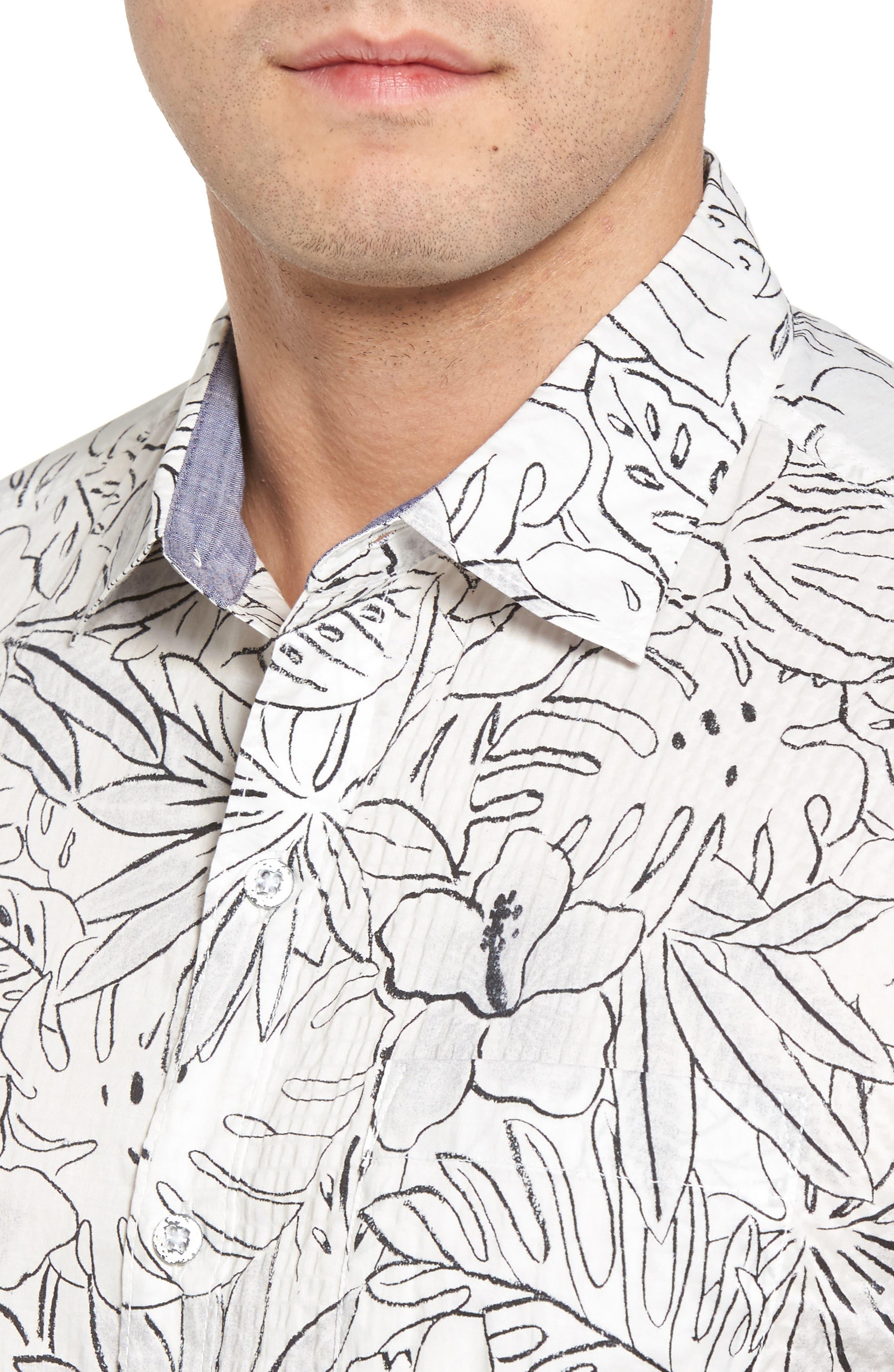 Sarasota Sketch Print Camp Shirt,                             Alternate thumbnail 4, color,                             White
